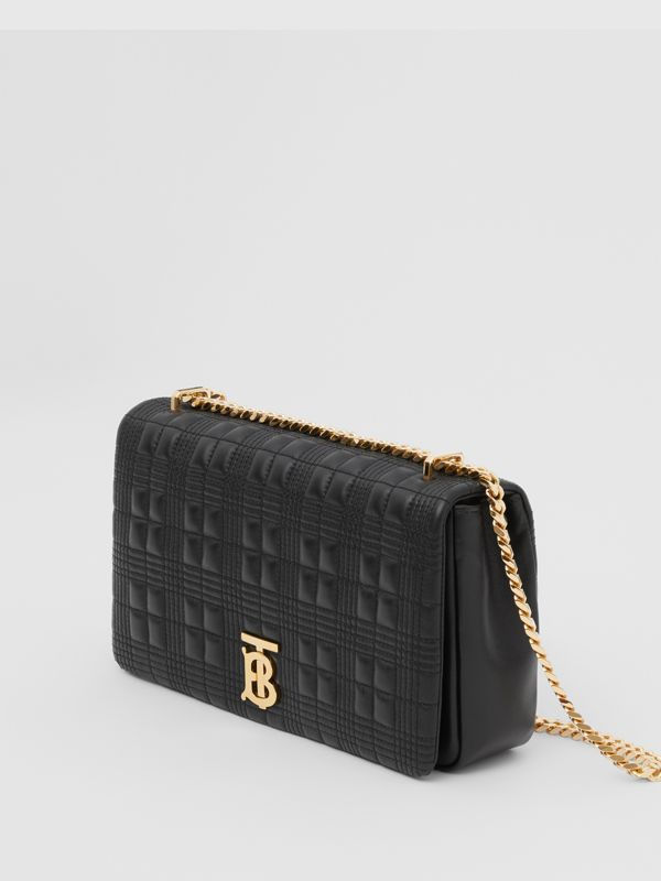 Medium Quilted Check Lambskin Lola Bag in Black - Women | Burberry - cell image 2