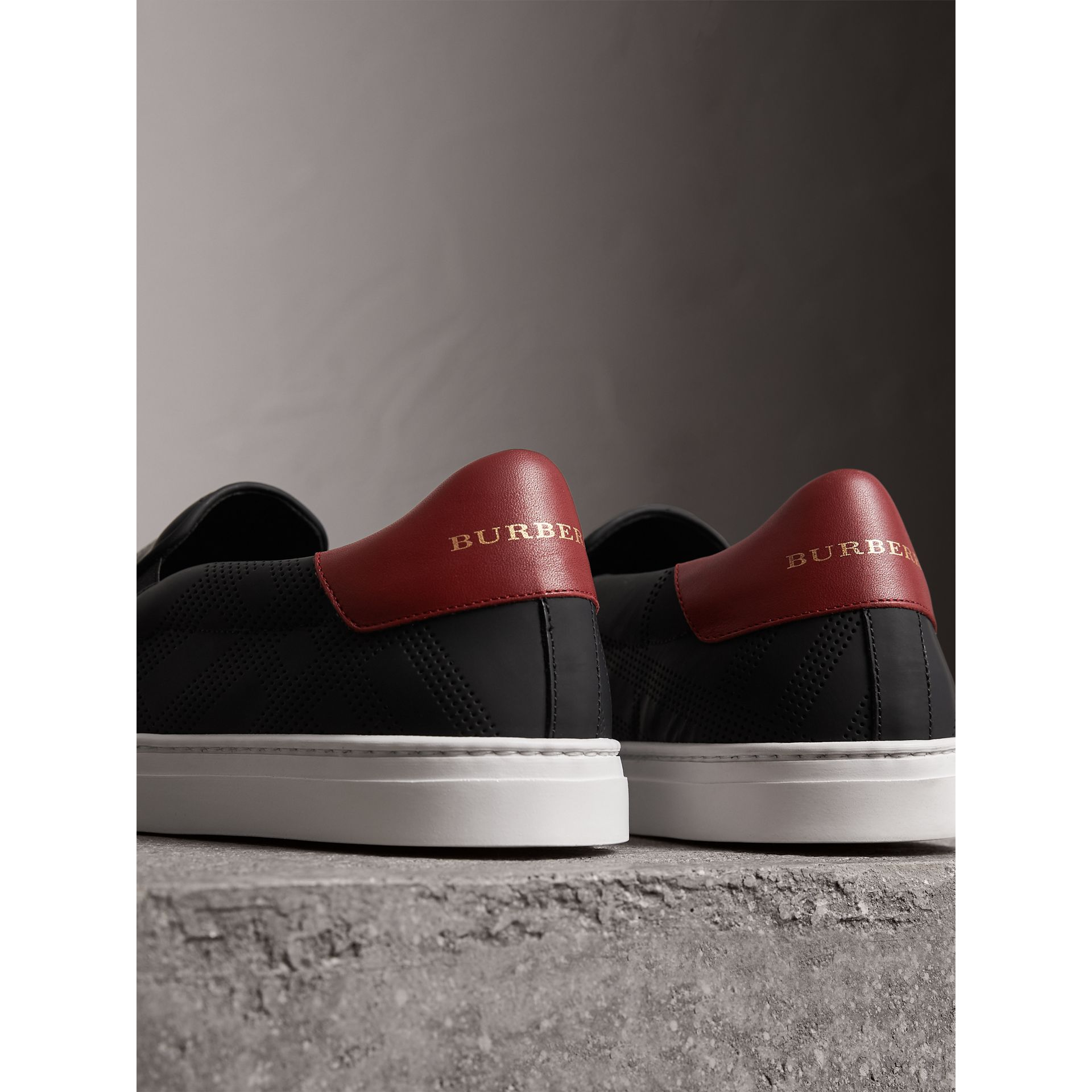 Perforated Check Leather Slip-on Trainers in Black/deep Claret Melange - Men | Burberry - gallery image 4