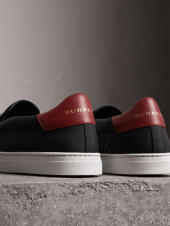 Perforated Check Leather Slip-on Trainers in Black/deep Claret Melange - Men | Burberry - cell image 3