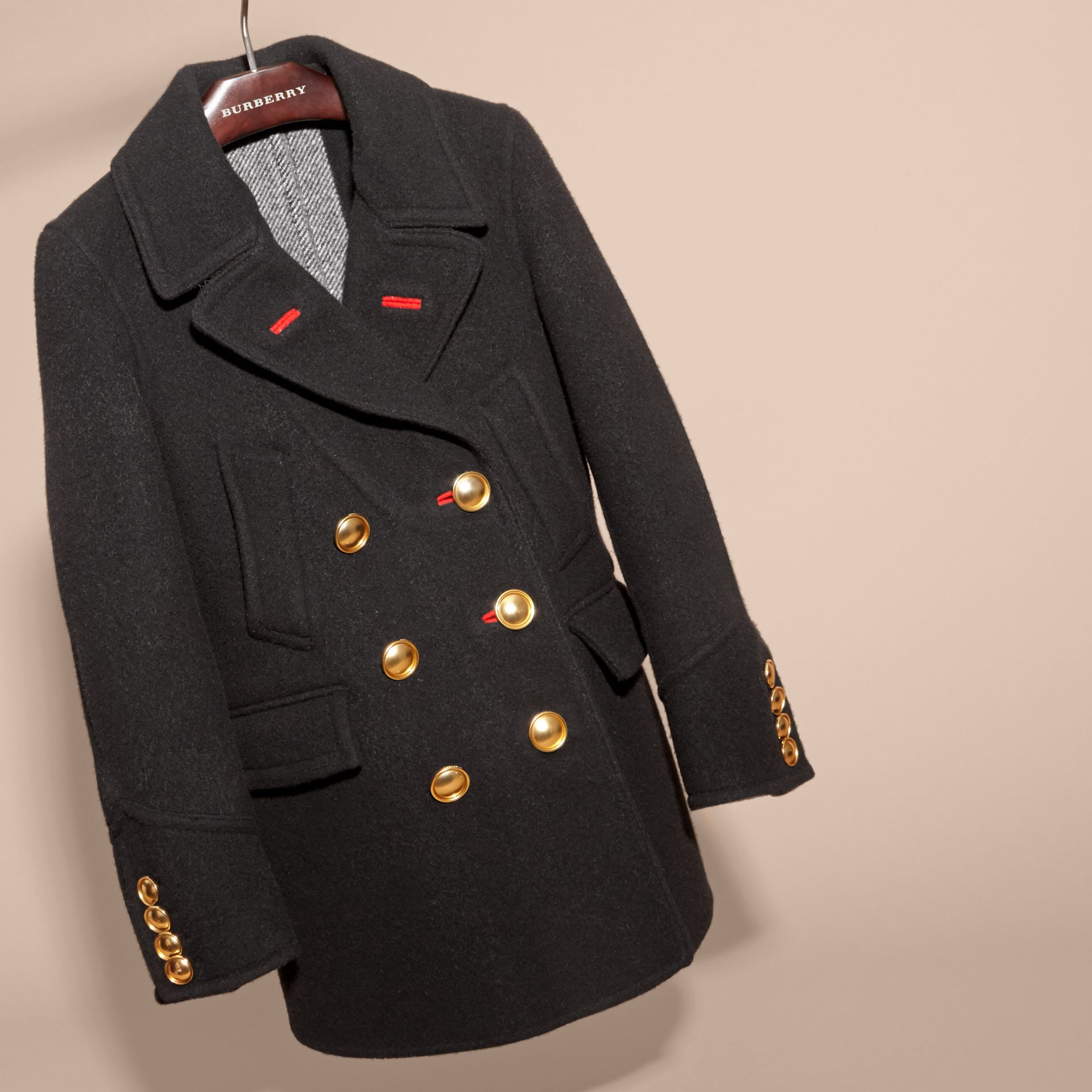 Black Military Wool Cashmere Pea Coat - gallery image 3