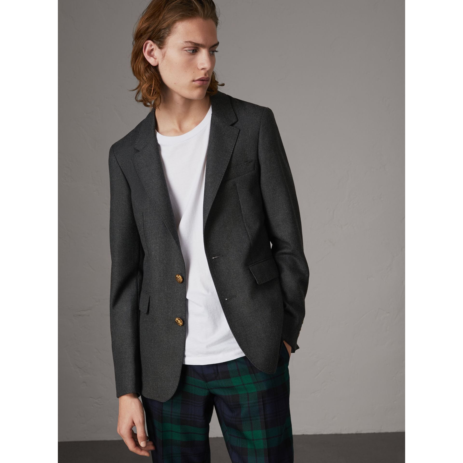 Bird Button Wool Tailored Jacket in Dark Grey Melange - Men | Burberry United Kingdom - gallery image 0