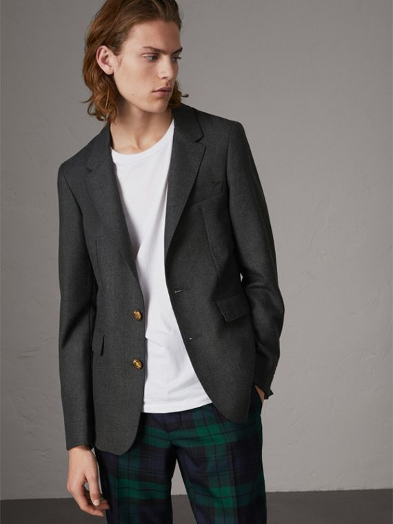 Bird Button Wool Tailored Jacket in Dark Grey Melange