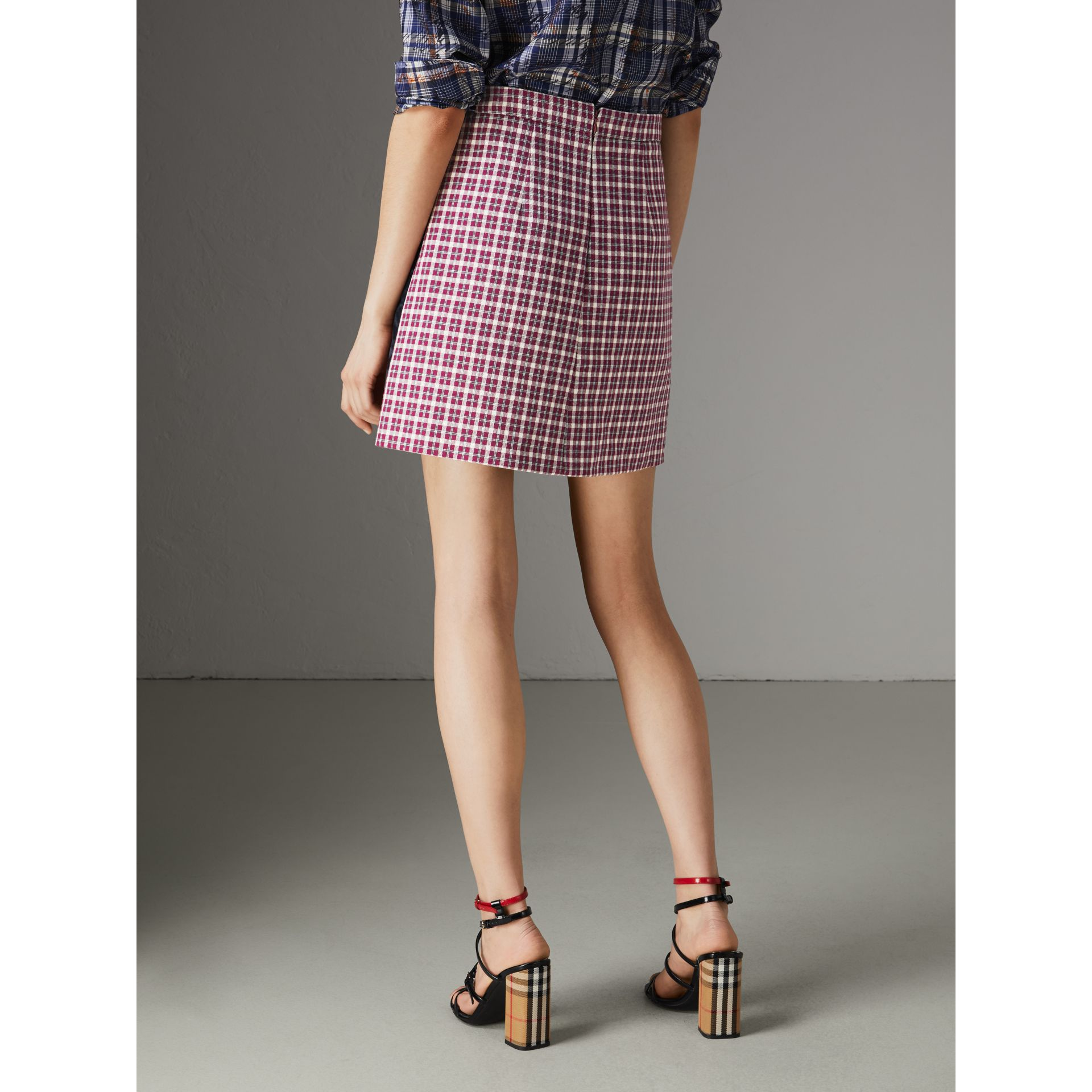 Stripe Detail Check Cotton Mini Skirt in Burgundy - Women | Burberry United Kingdom - gallery image 2