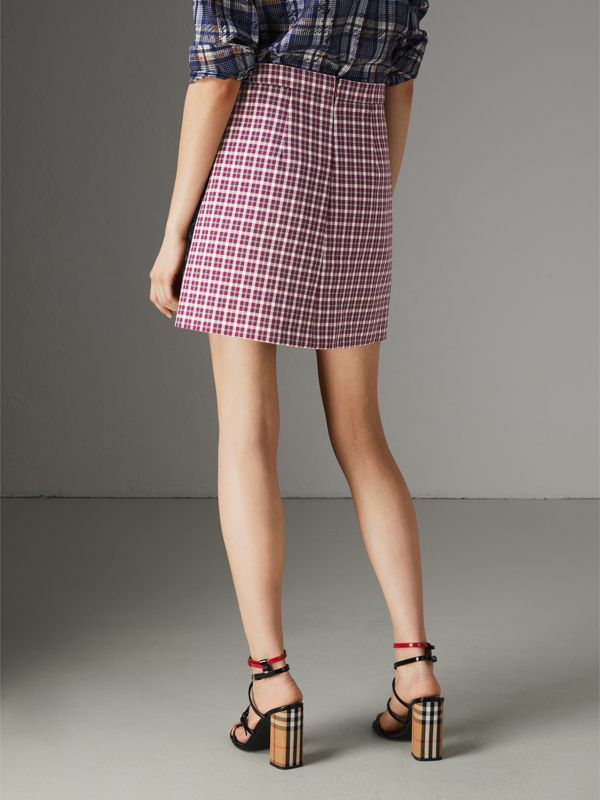 Stripe Detail Check Cotton Mini Skirt in Burgundy - Women | Burberry - cell image 2