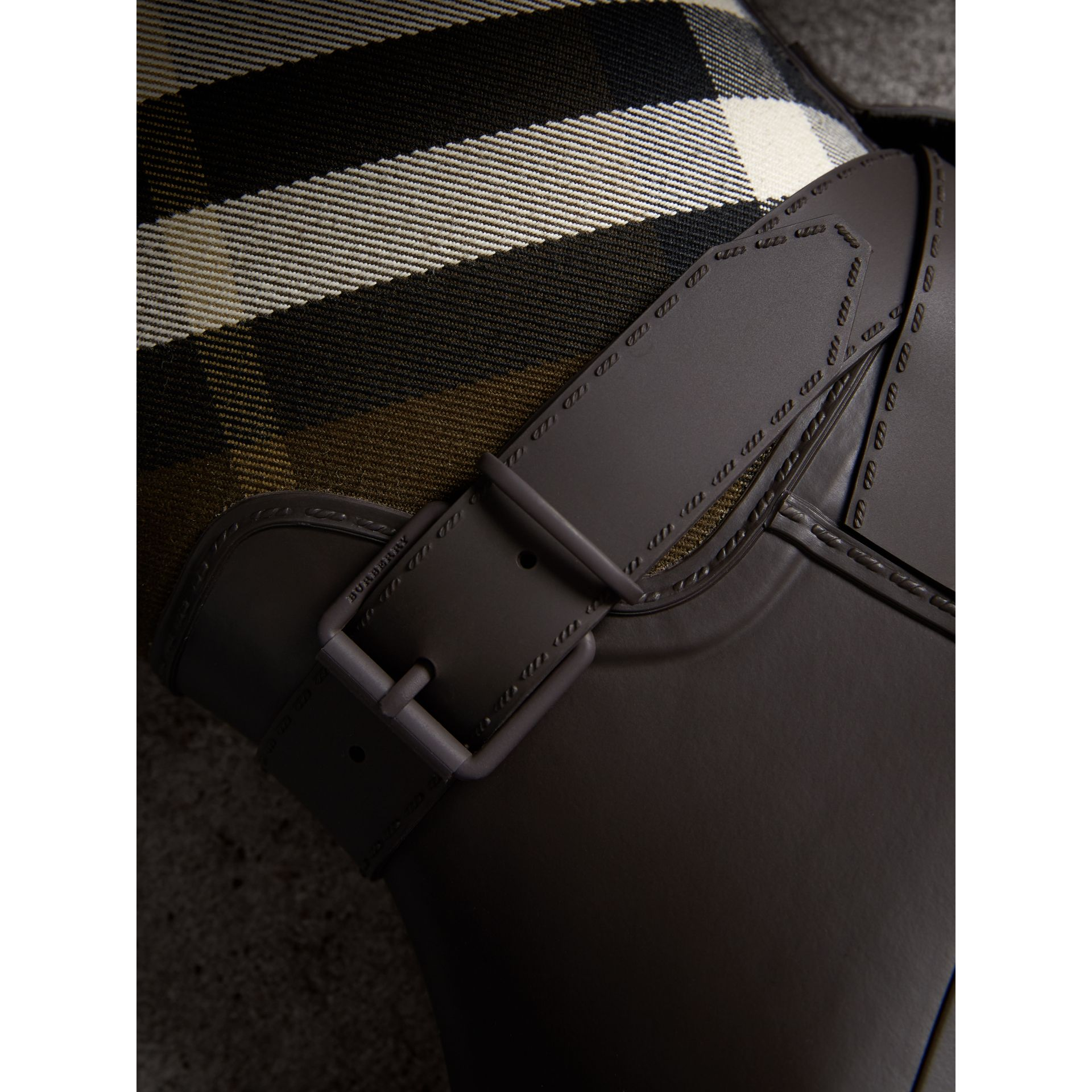 Belt Detail House Check and Rubber Rain Boots in Bitter Chocolate - Men | Burberry Australia - gallery image 1