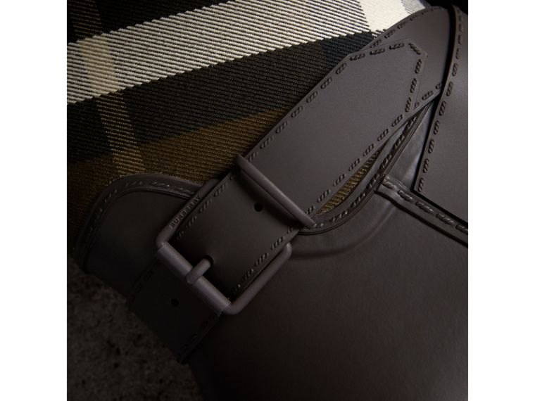 Belt Detail House Check and Rubber Rain Boots in Bitter Chocolate - Men | Burberry Australia - cell image 1