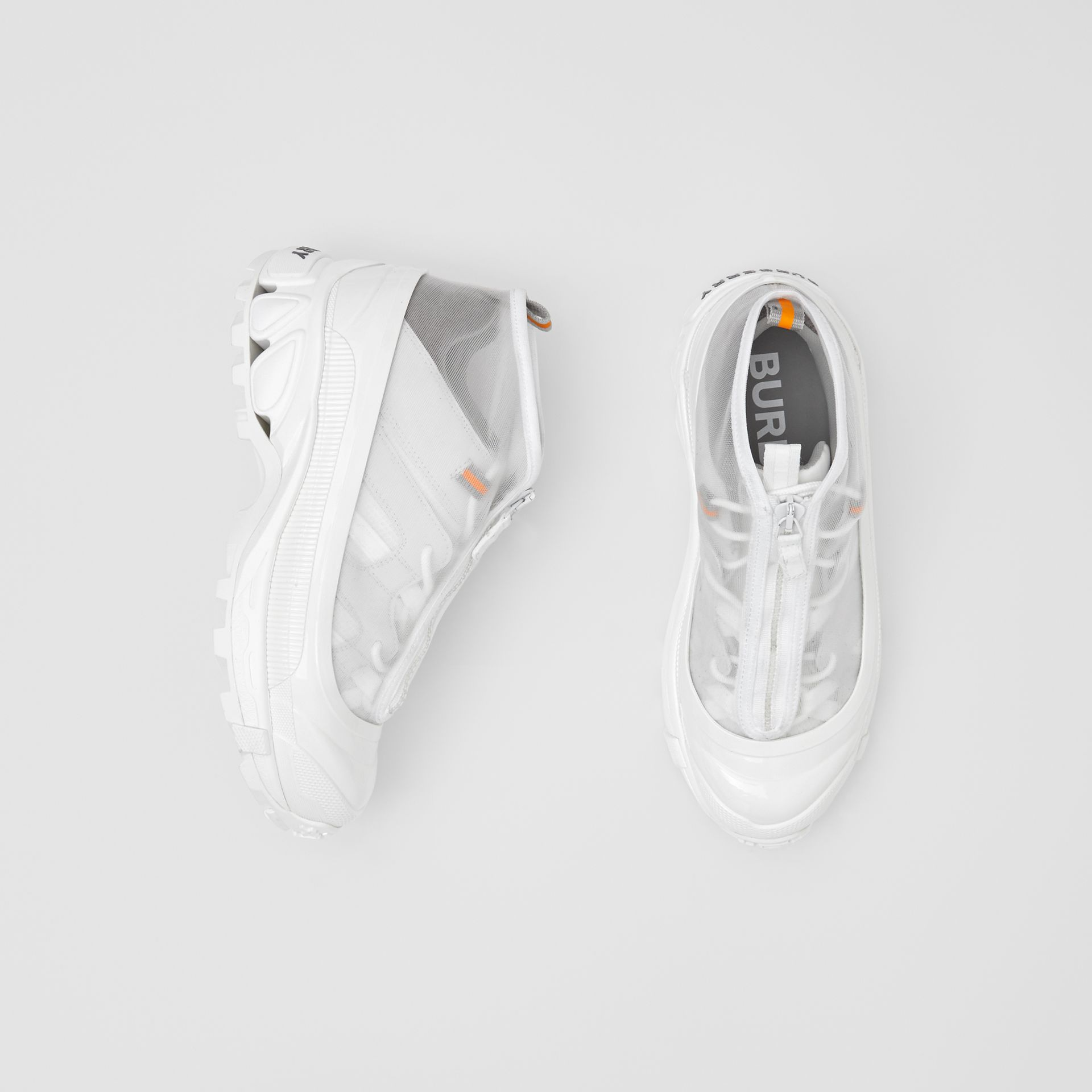 Nylon and Suede Arthur Sneakers in White - Women   Burberry United States - gallery image 0