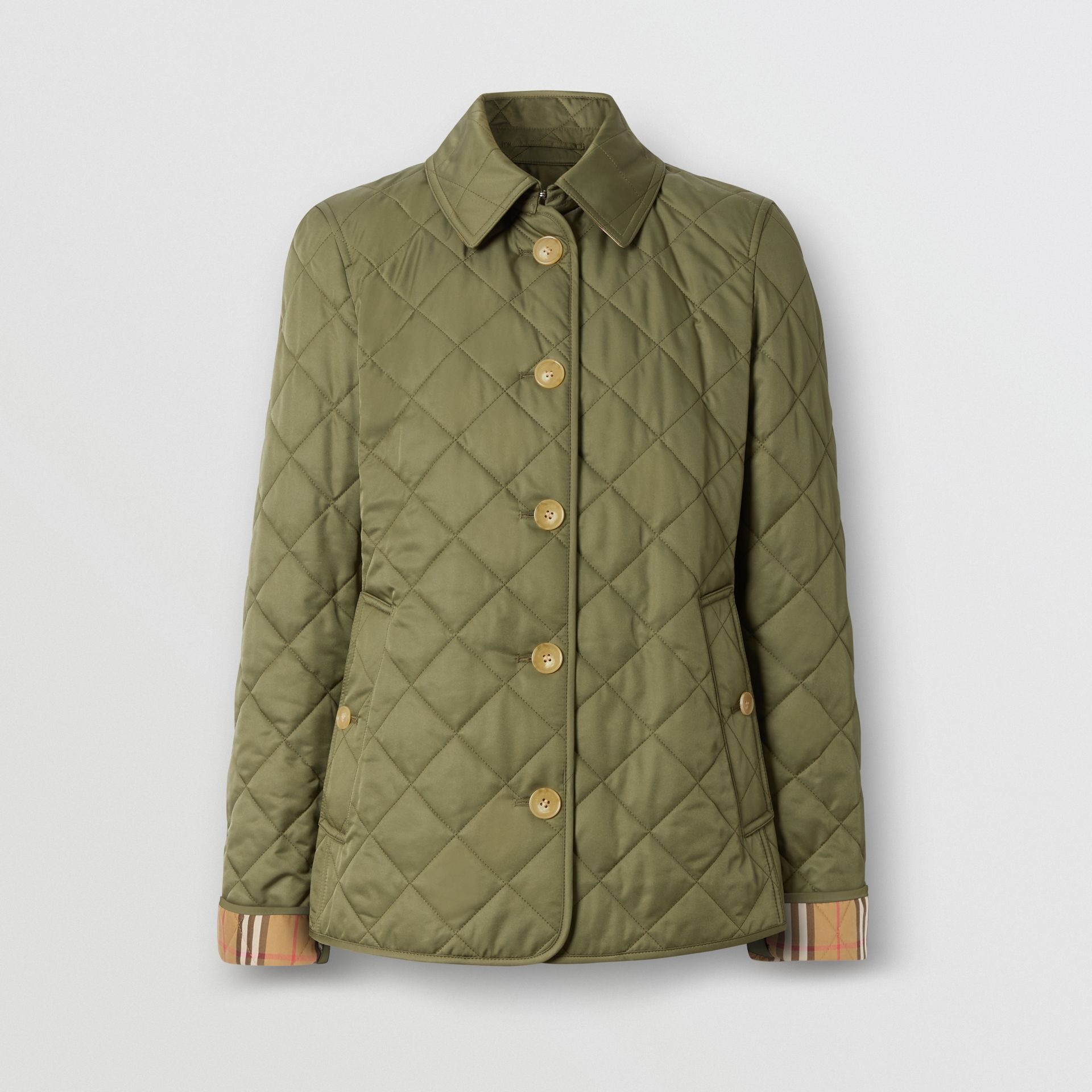 Diamond Quilted Jacket in Olive Green - Women | Burberry - gallery image 3