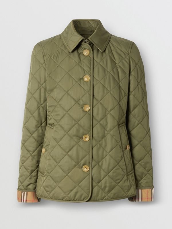 Diamond Quilted Jacket in Olive Green - Women | Burberry - cell image 3
