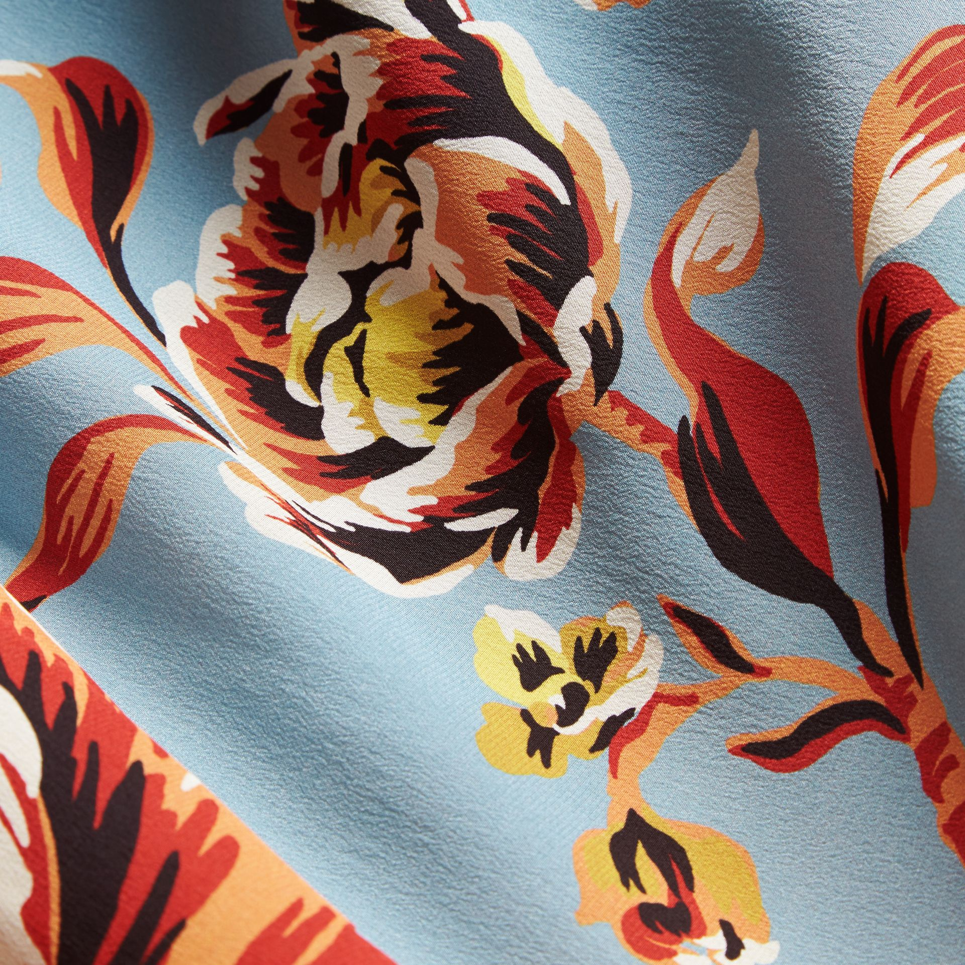 Vibrant orange Peony Rose Print Silk Skirt - gallery image 2