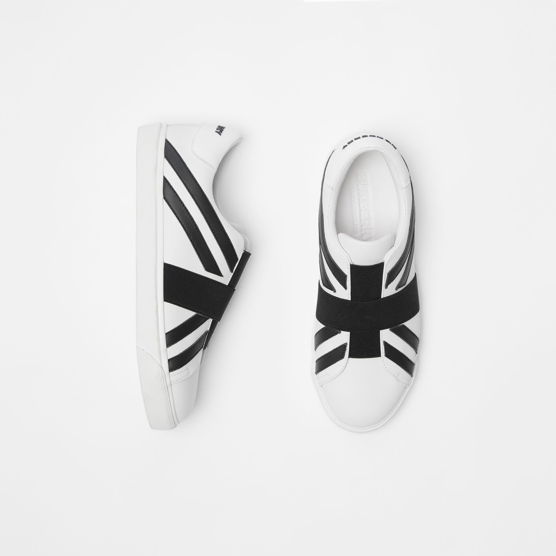 Union Jack Motif Slip-on Sneakers in Optic White/black - Women | Burberry United Kingdom - gallery image 0