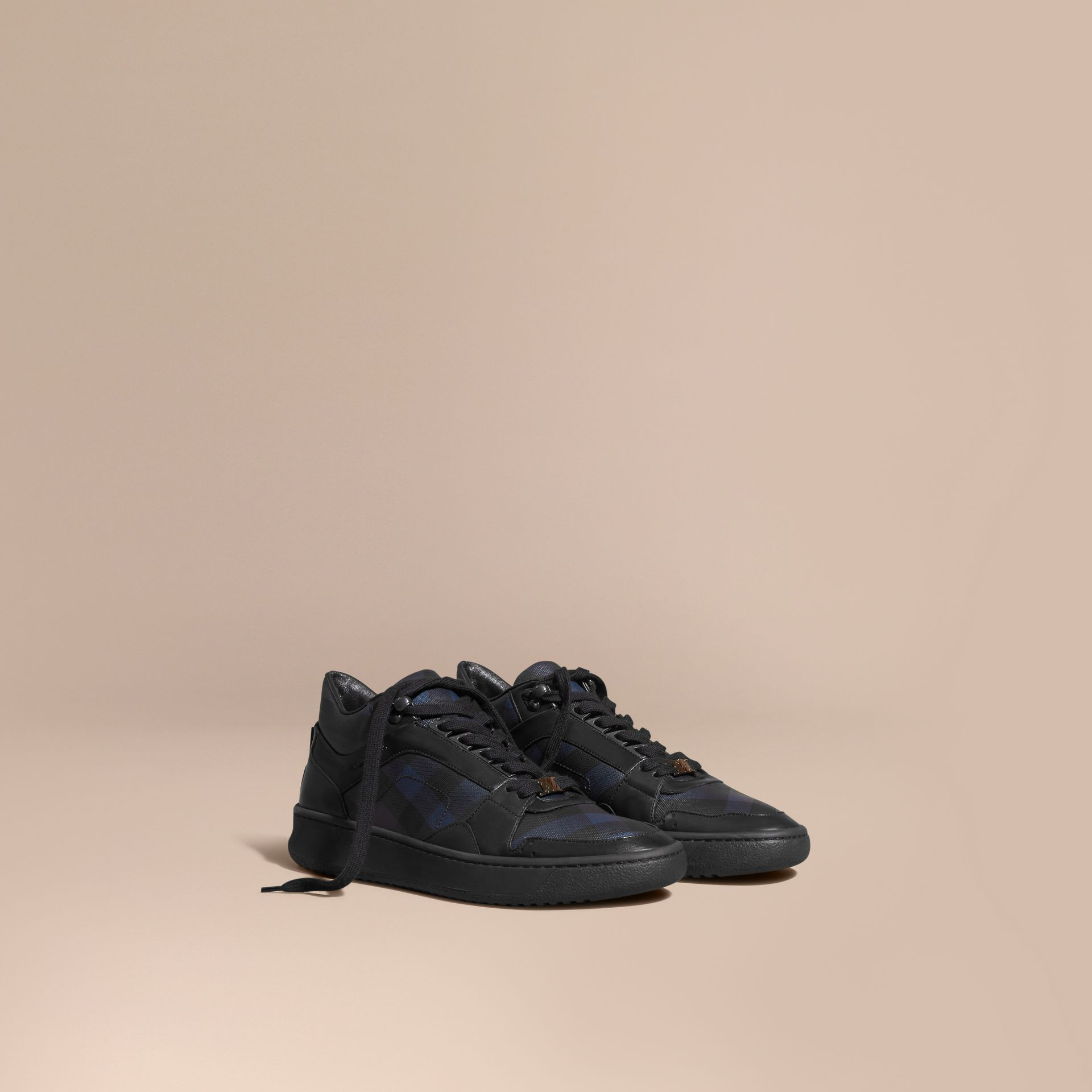 Navy London Check and Leather Trainers Navy - gallery image 1
