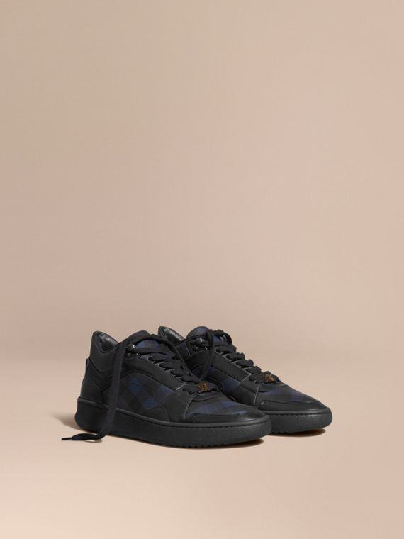London Check and Leather Trainers Navy