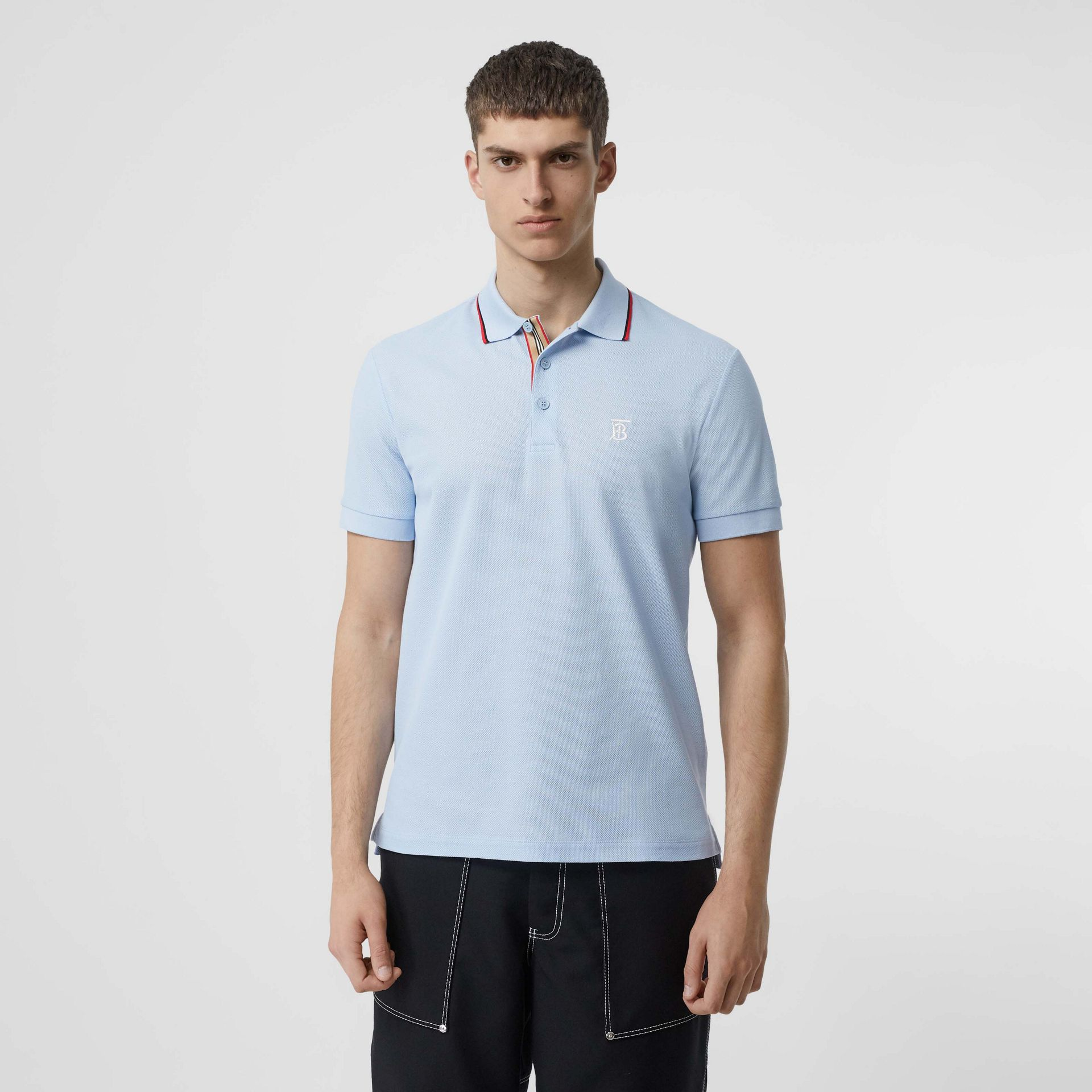 Icon Stripe Placket Cotton Piqué Polo Shirt in Pale Blue - Men | Burberry Canada - gallery image 0