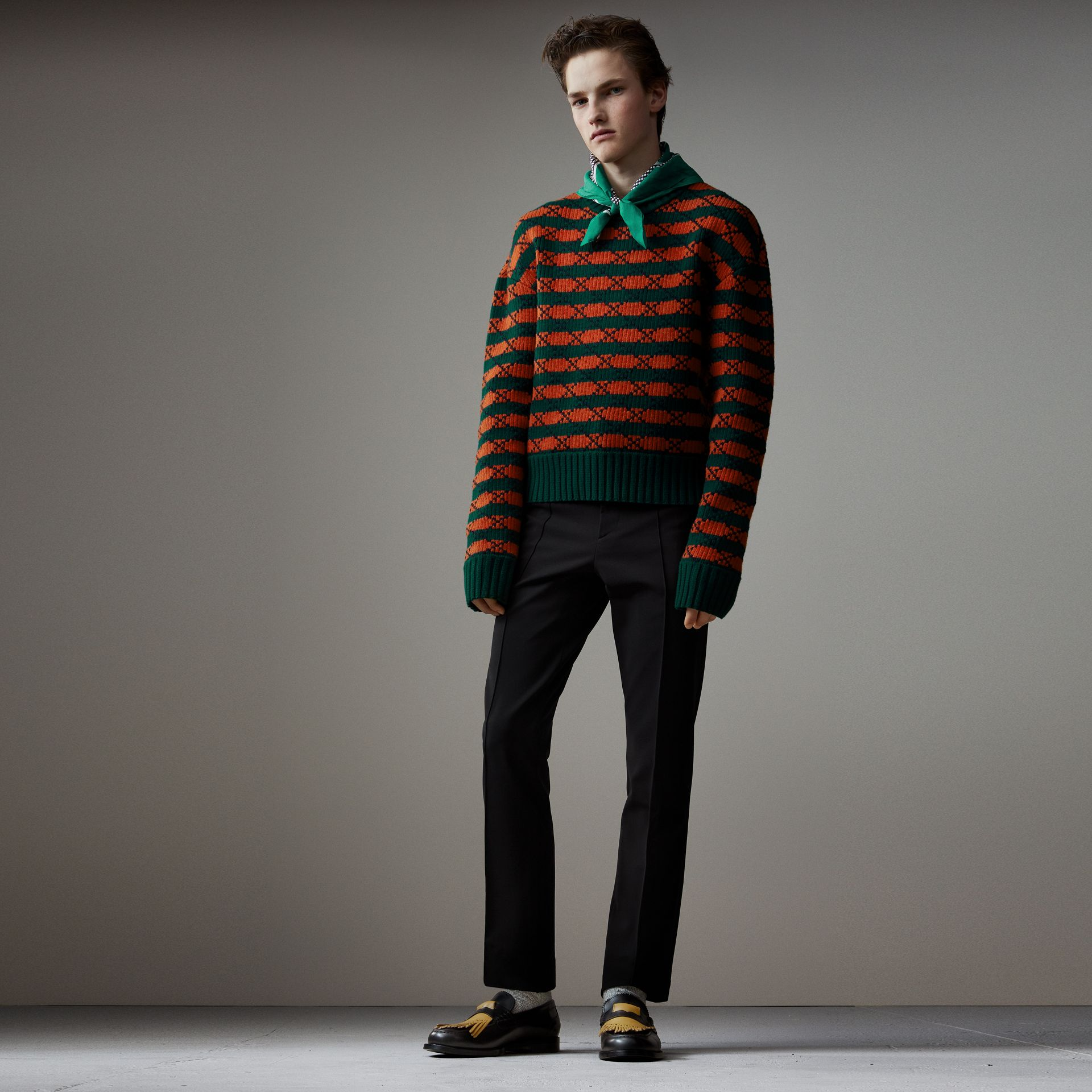 Geometric Wool Cotton Blend Sculptural Sweater in Multicolour - Men | Burberry - gallery image 0