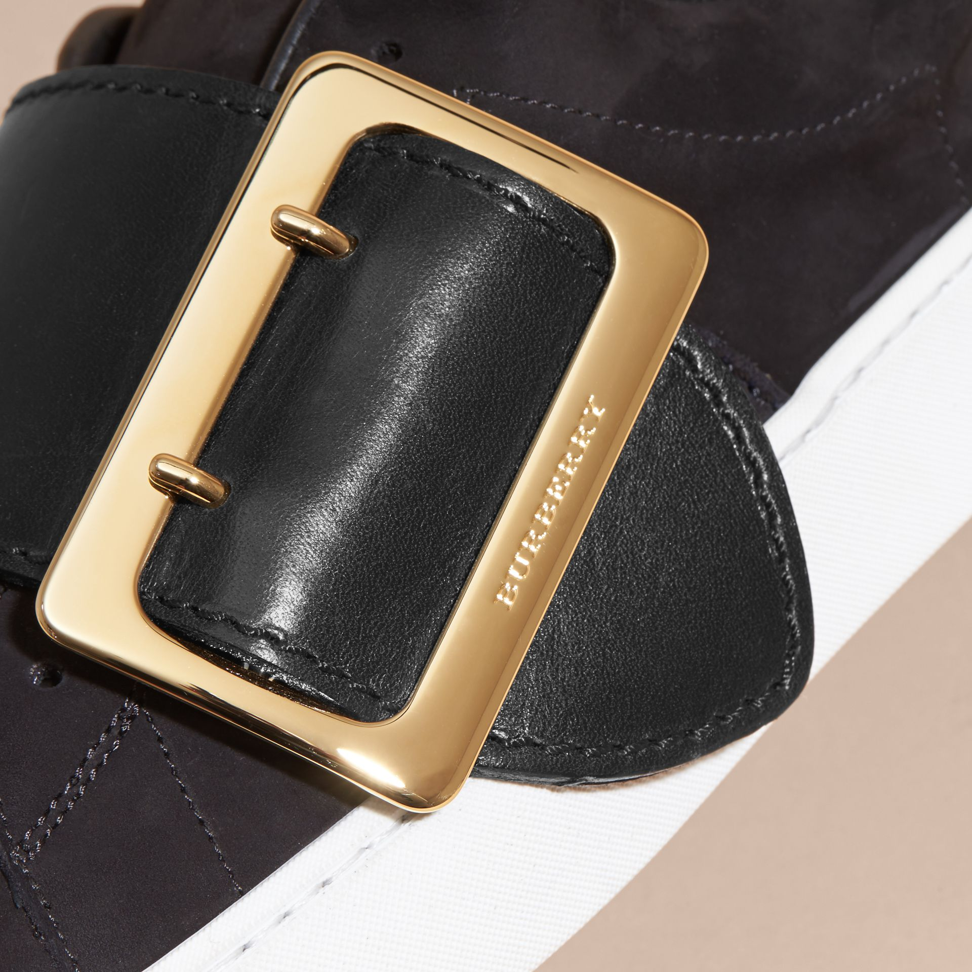 Oversize Buckle Detail Suede and Leather Trainers - gallery image 2