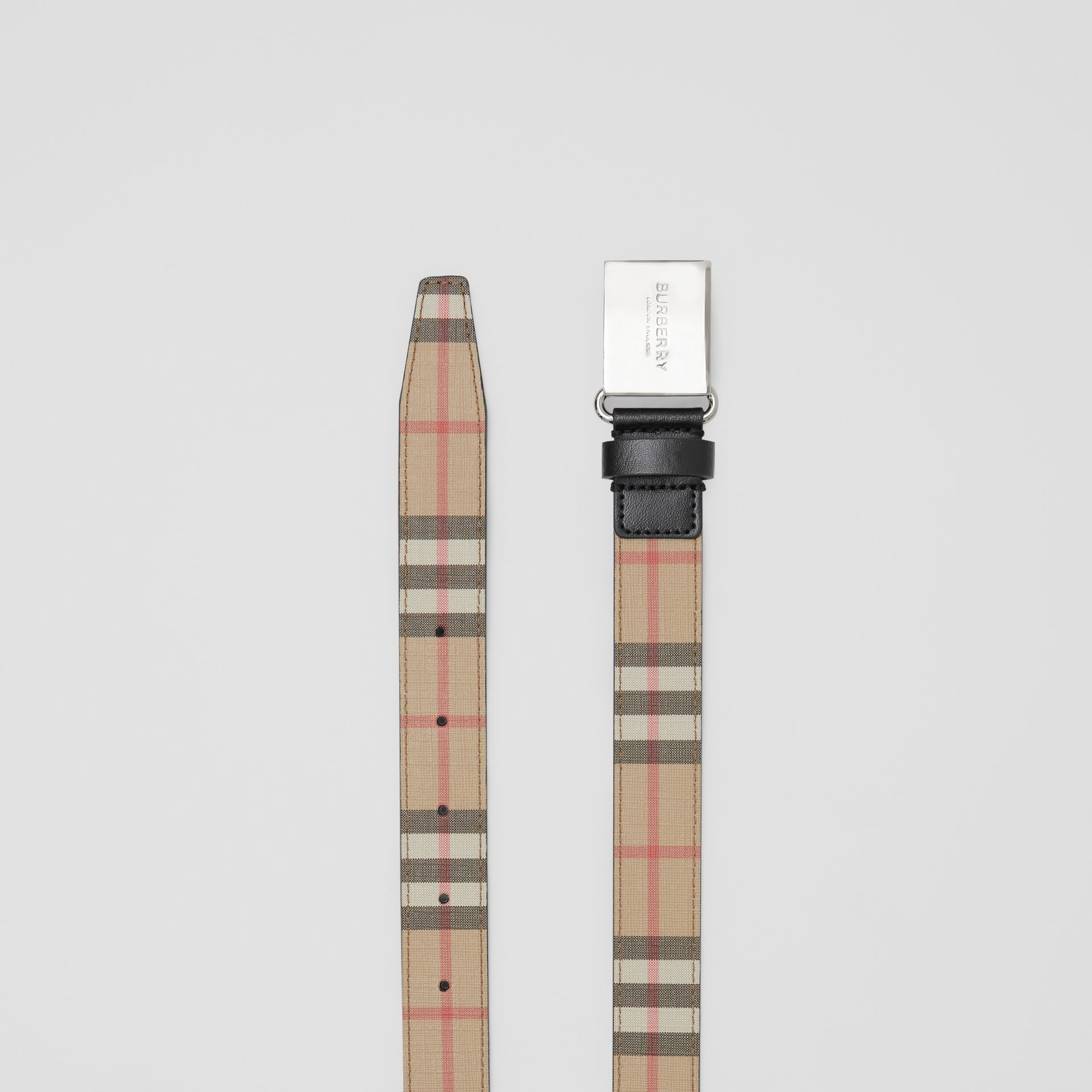 Plaque Buckle Vintage Check E-canvas Belt in Archive Beige - Children | Burberry Australia - gallery image 4