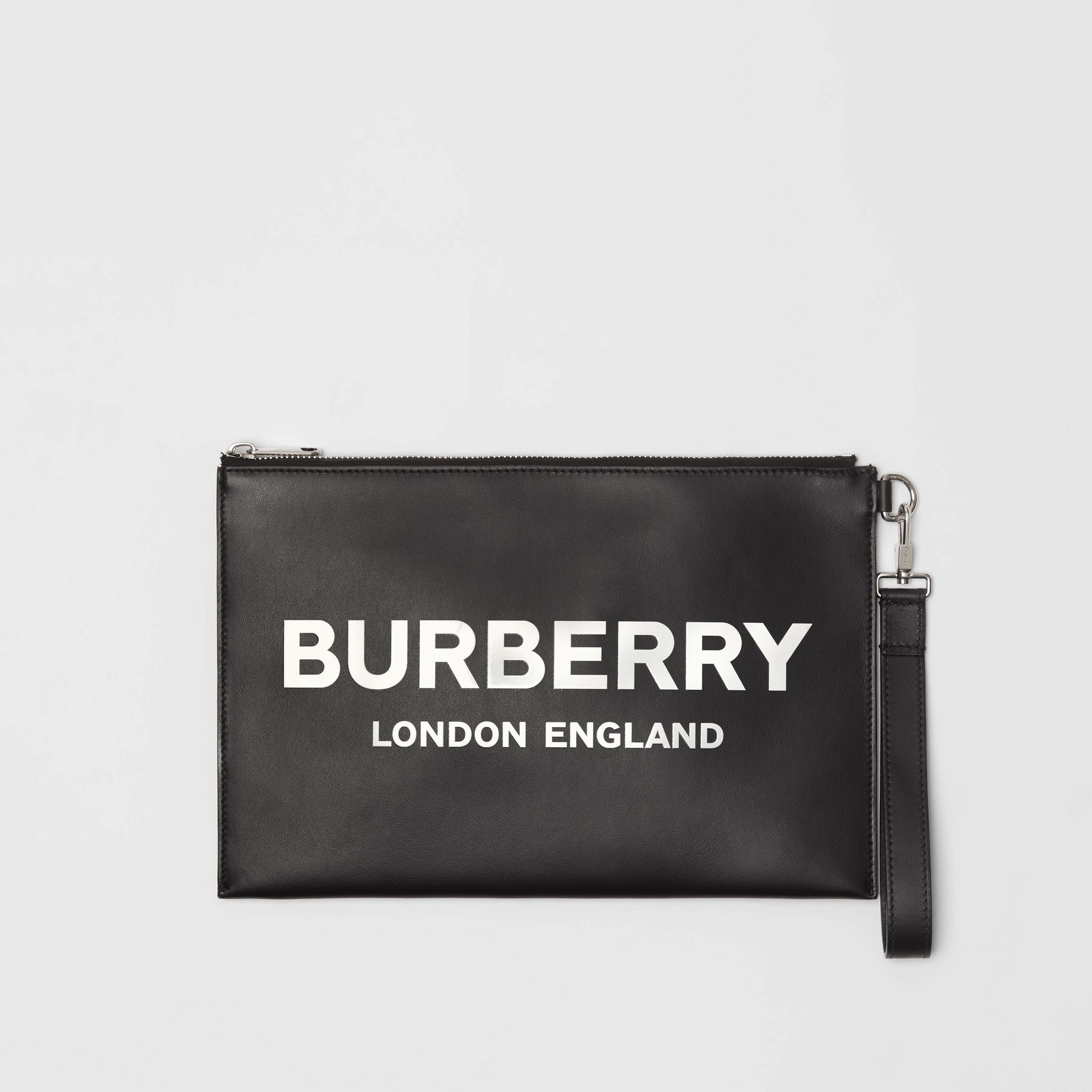 Logo Print Zip Pouch in Black | Burberry - gallery image 0