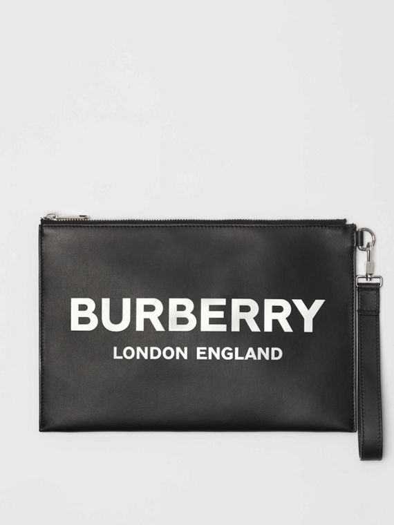 Logo Print Zip Pouch in Black