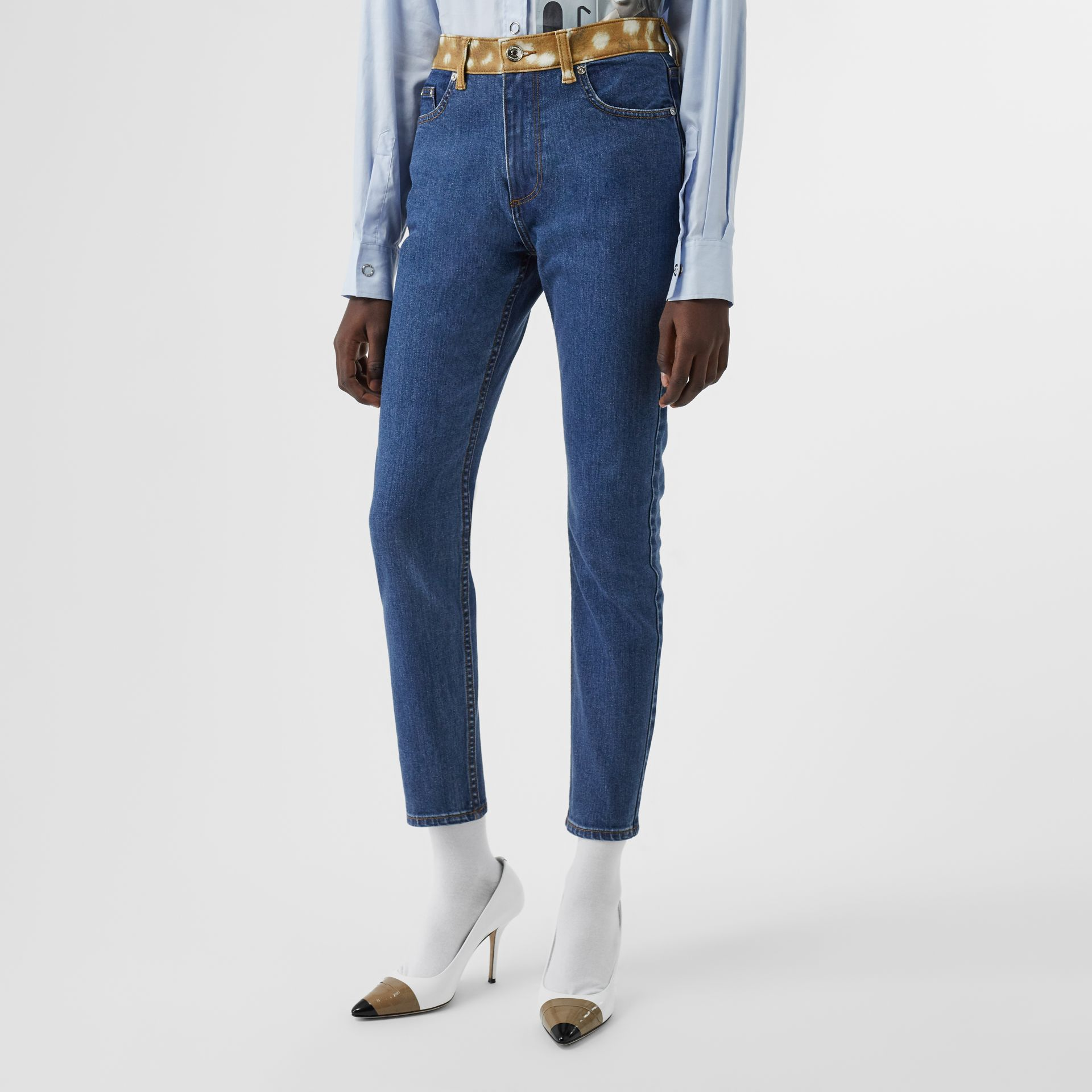 Skinny Fit Deer Print Trim Japanese Denim Jeans in Mid Blue - Women | Burberry - gallery image 0