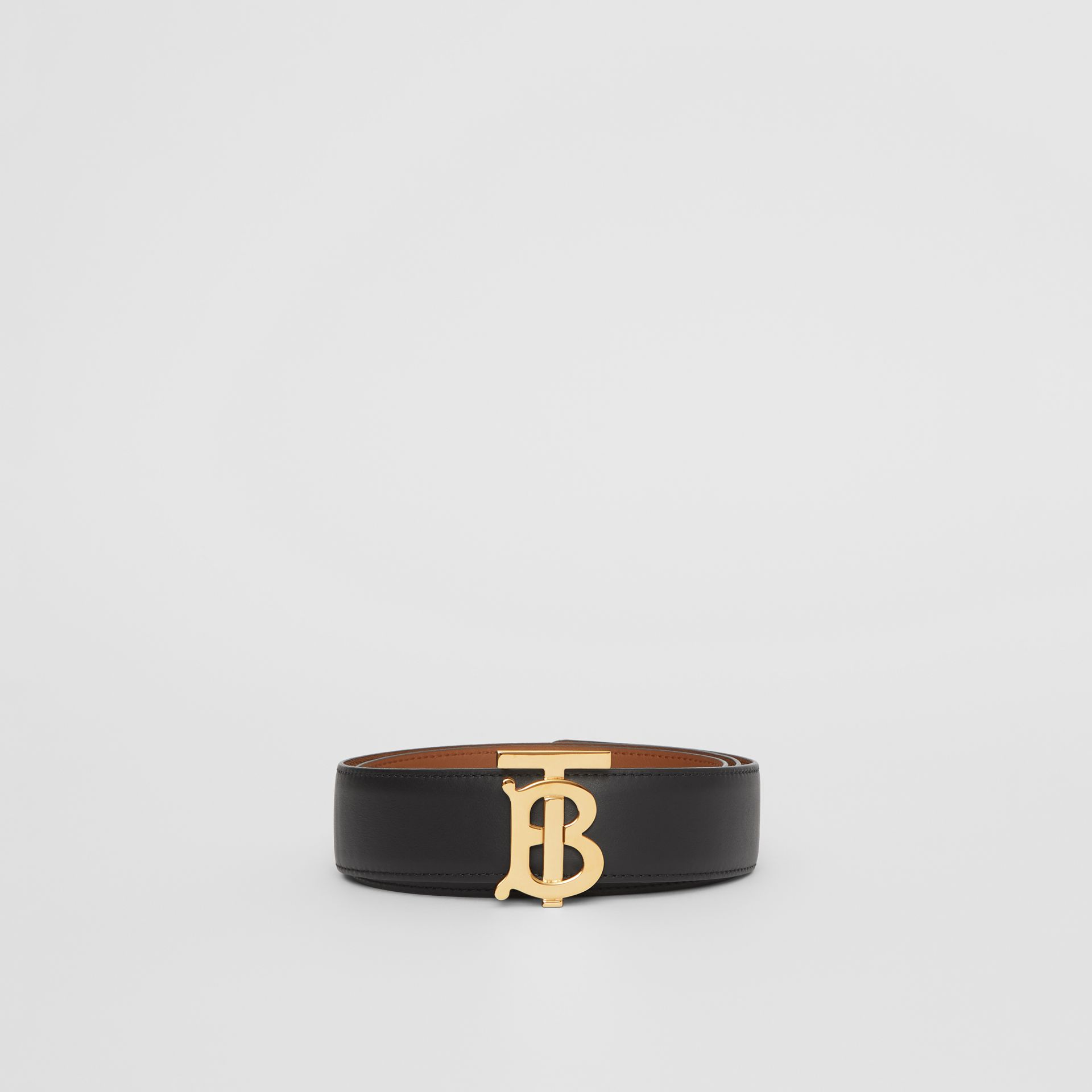 Reversible Monogram Motif Leather Belt in Black/malt Brown - Women | Burberry United Kingdom - gallery image 3