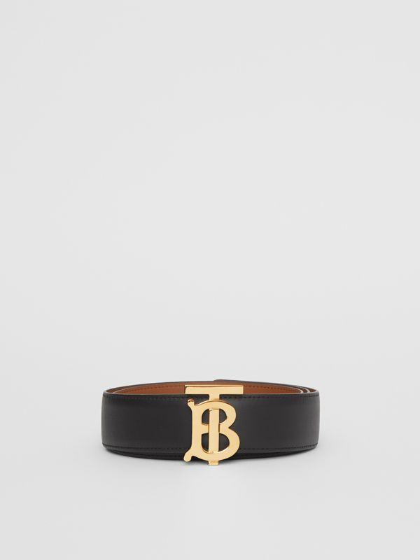 Reversible Monogram Motif Leather Belt in Black/malt Brown - Women | Burberry United Kingdom - cell image 3