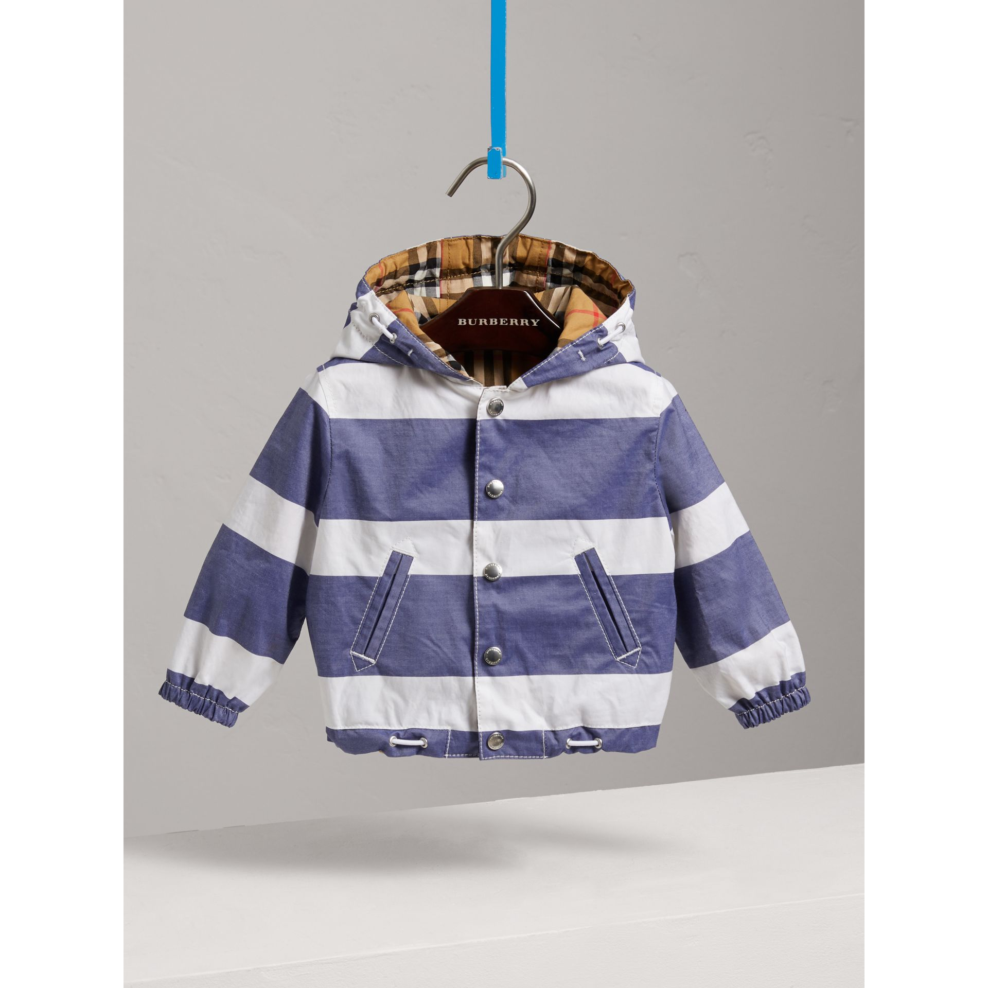 Reversible Stripe and Vintage Check Hooded Jacket in Navy/white - Children | Burberry - gallery image 0