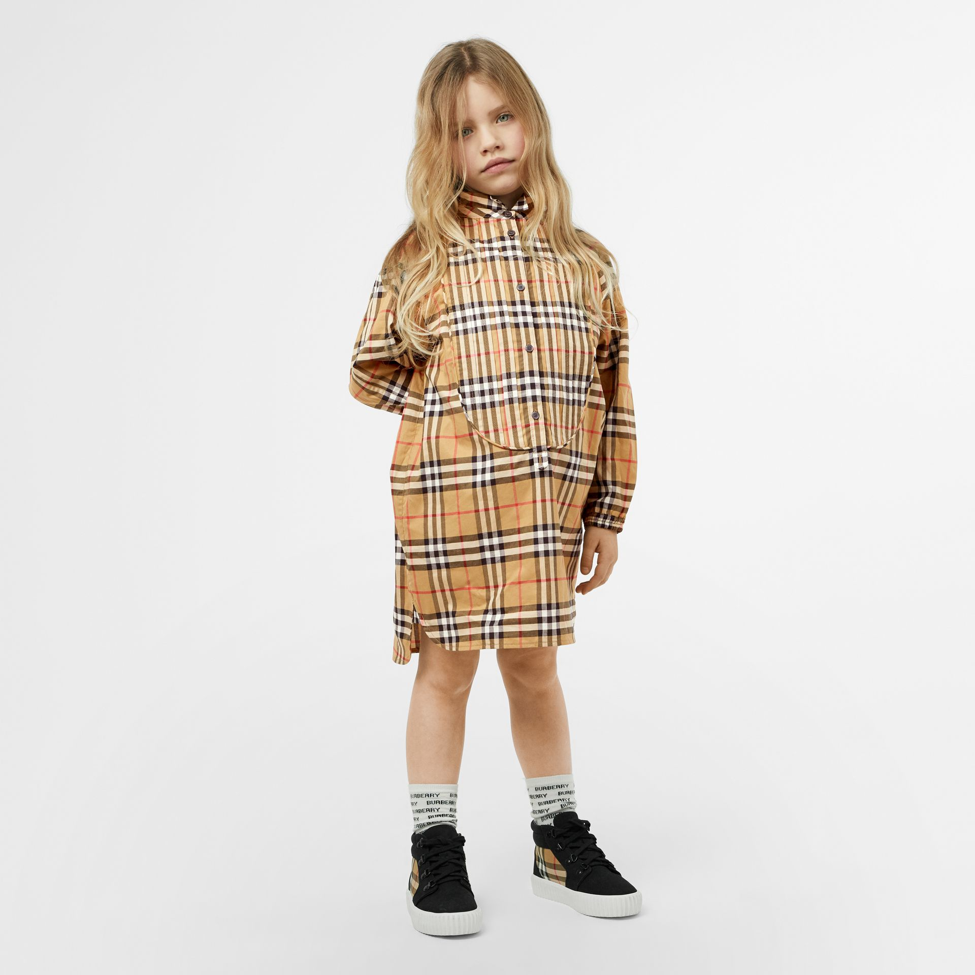 Vintage Check Cotton Shirt Dress in Antique Yellow | Burberry - gallery image 2