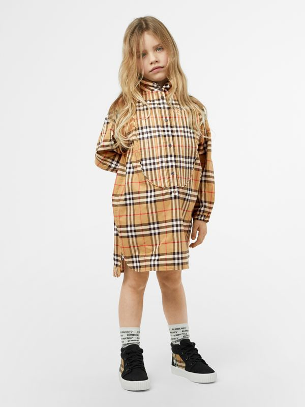 Vintage Check Cotton Shirt Dress in Antique Yellow | Burberry - cell image 2