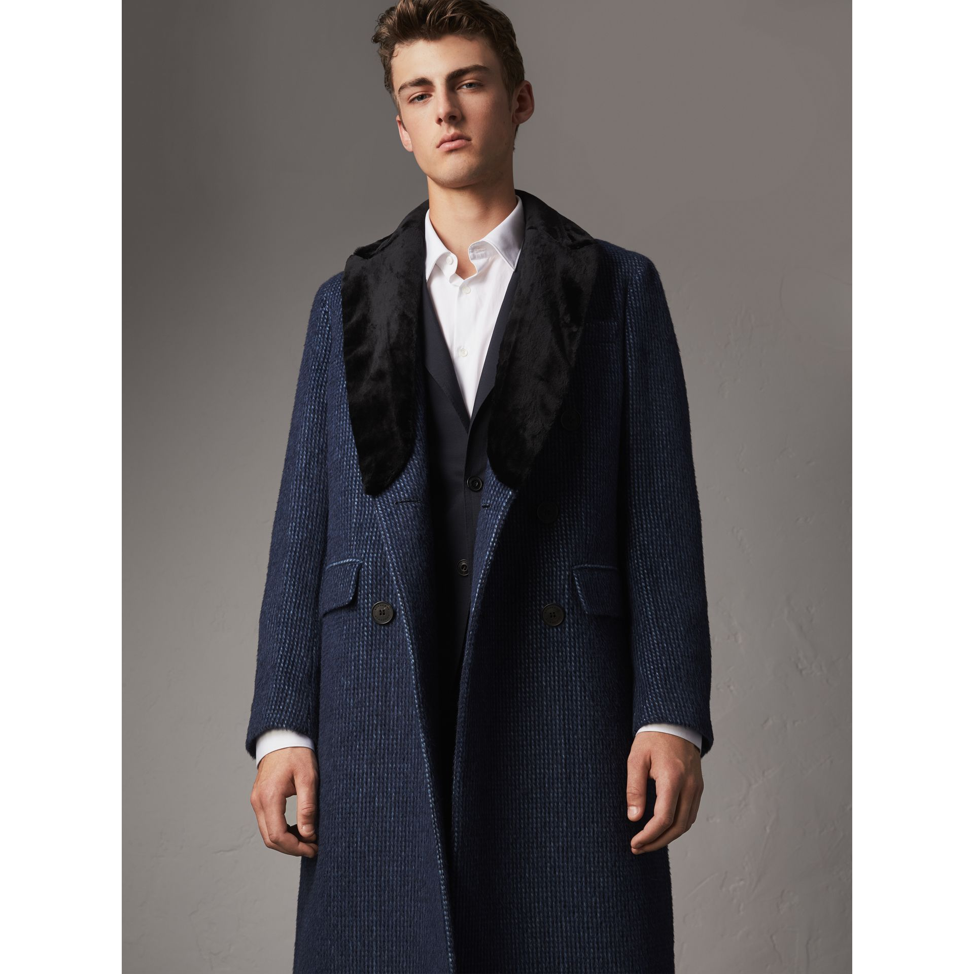 Detachable Fur Collar Alpaca Wool Double-breasted Coat in Pale Sapphire - Men | Burberry United States - gallery image 0
