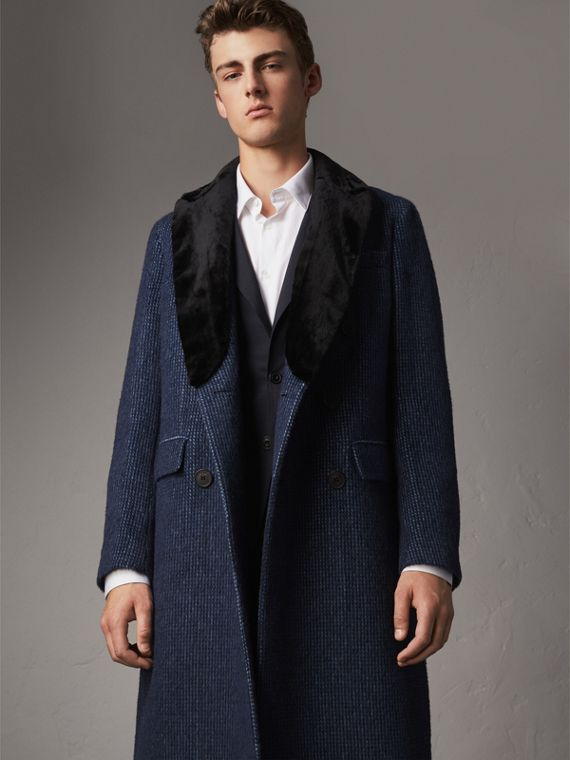 Detachable Fur Collar Alpaca Wool Double-breasted Coat in Pale Sapphire