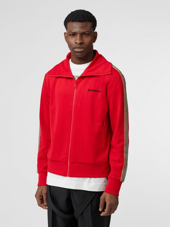 Icon Stripe Detail Funnel Neck Track Top in Bright Red