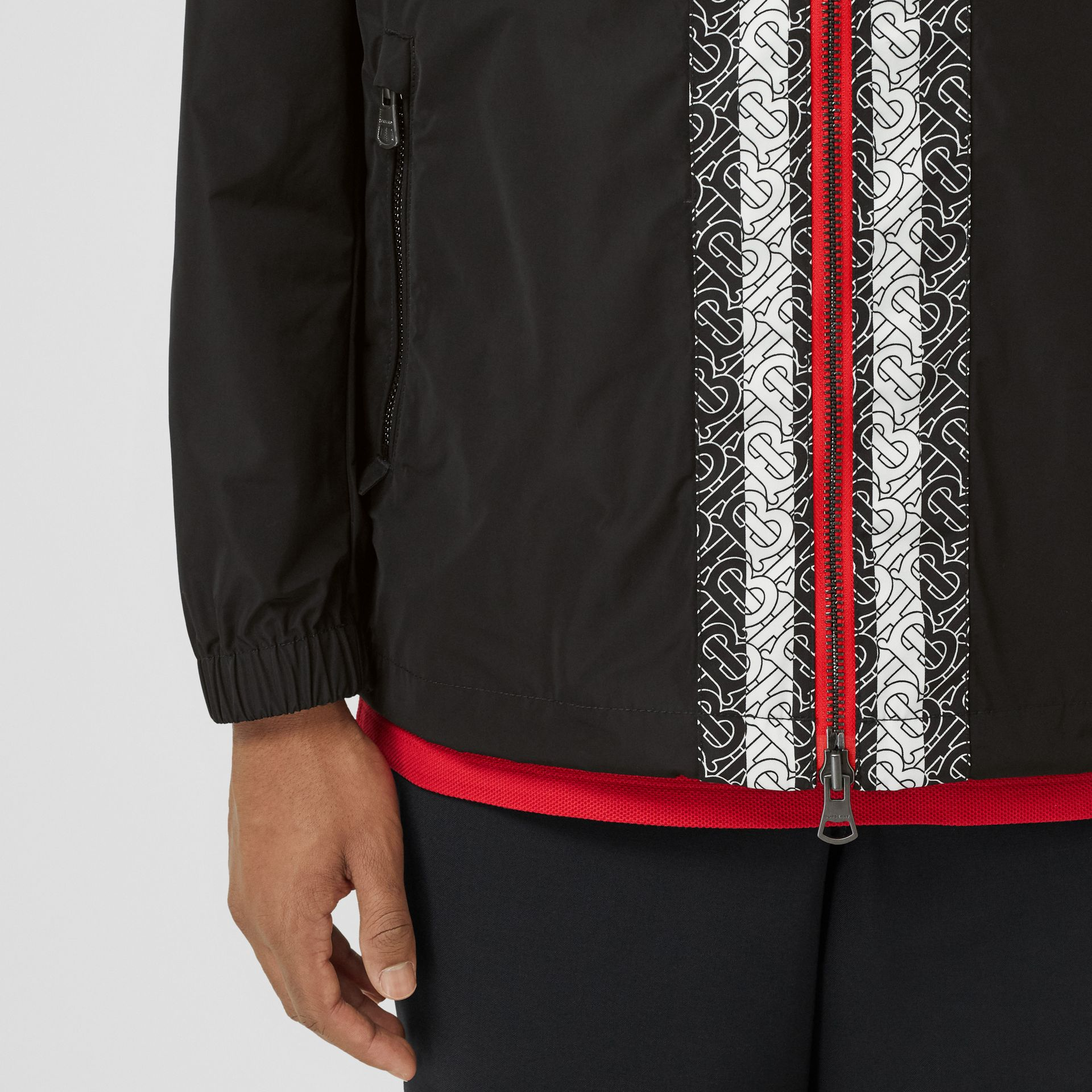 Monogram Stripe Panel Shape-memory Taffeta Jacket in Black - Men | Burberry - gallery image 4