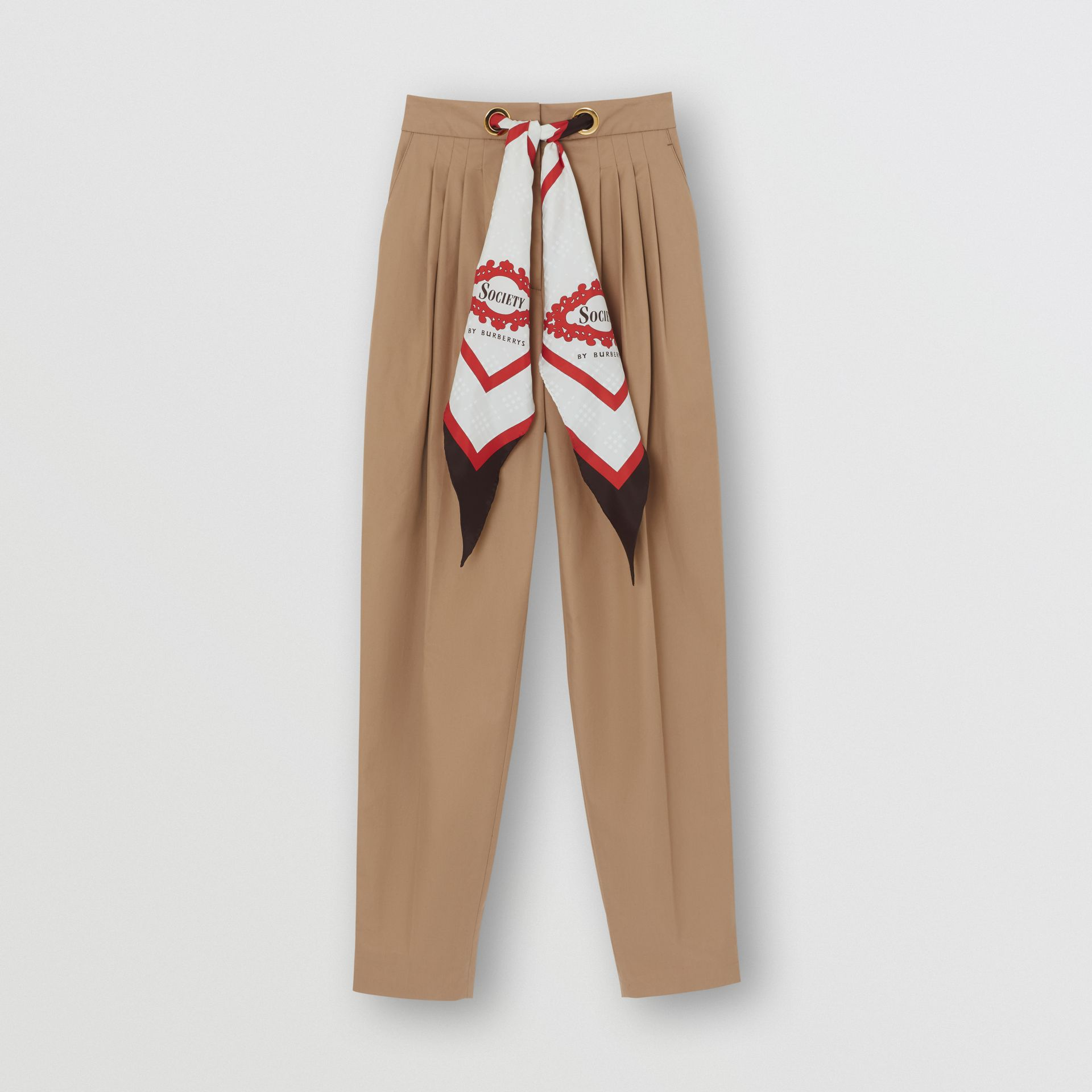 Scarf Detail Cotton Tapered Trousers in Driftwood - Women | Burberry Canada - gallery image 3
