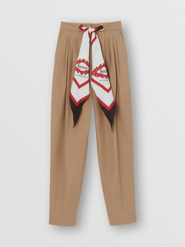 Scarf Detail Cotton Tapered Trousers in Driftwood - Women | Burberry - cell image 3
