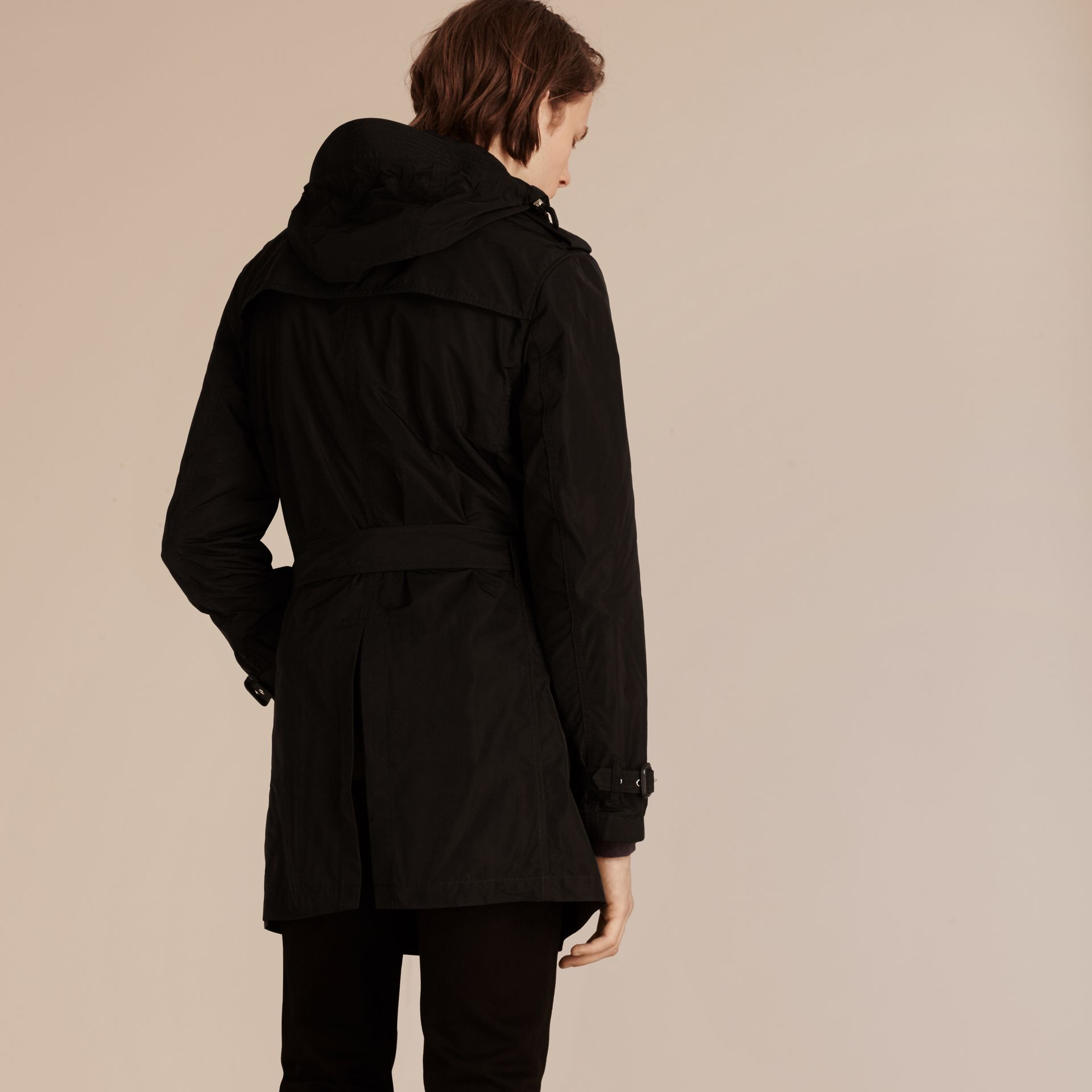 Black Showerproof Technical Trench Coat with Detachable Hood - gallery image 3