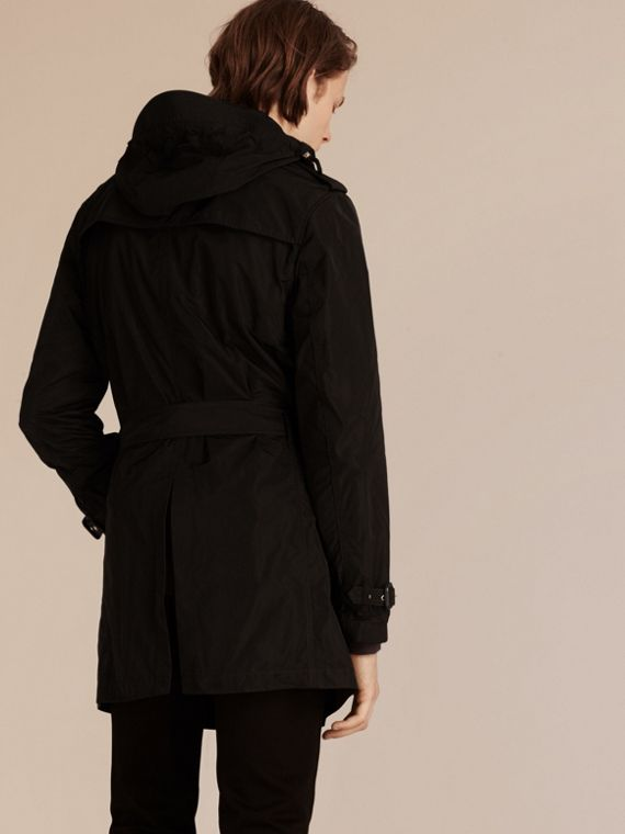 Black Showerproof Technical Trench Coat with Detachable Hood - cell image 2