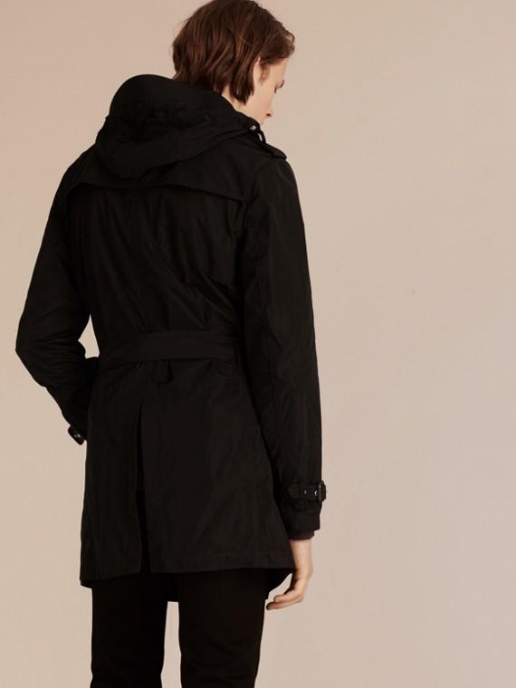 Preto Trench coat de tecido tecnológico impermeável com capuz removível - cell image 2