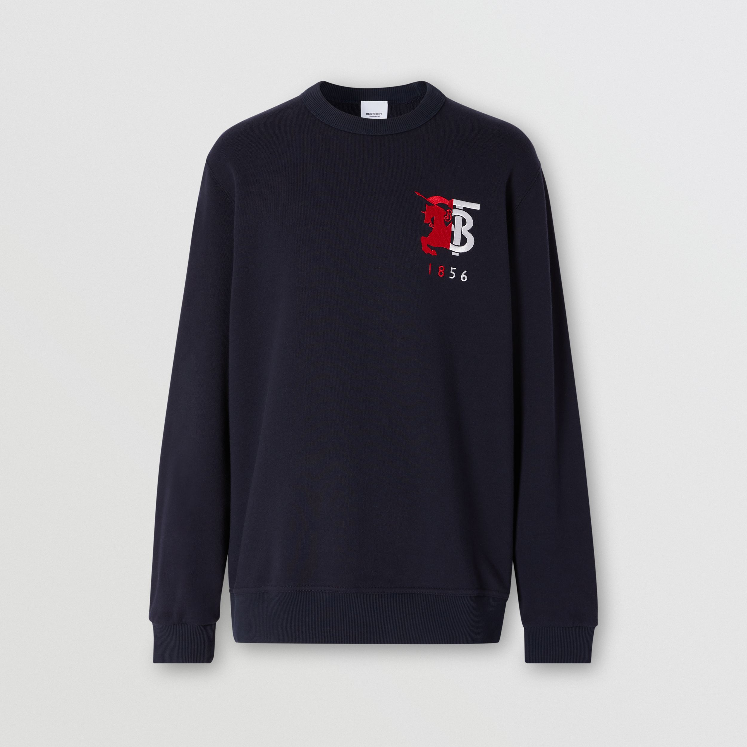 Contrast Logo Graphic Cotton Sweatshirt in Navy - Men | Burberry - 4
