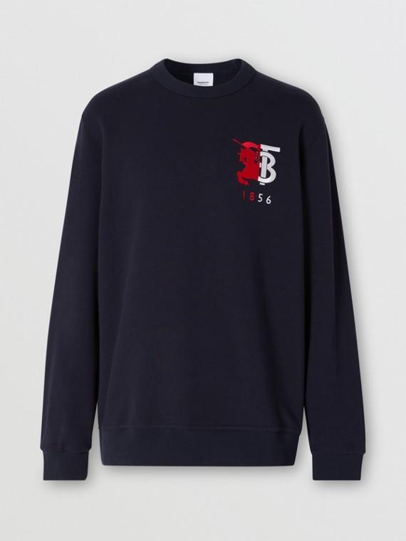 Contrast Logo Graphic Cotton Sweatshirt in Navy