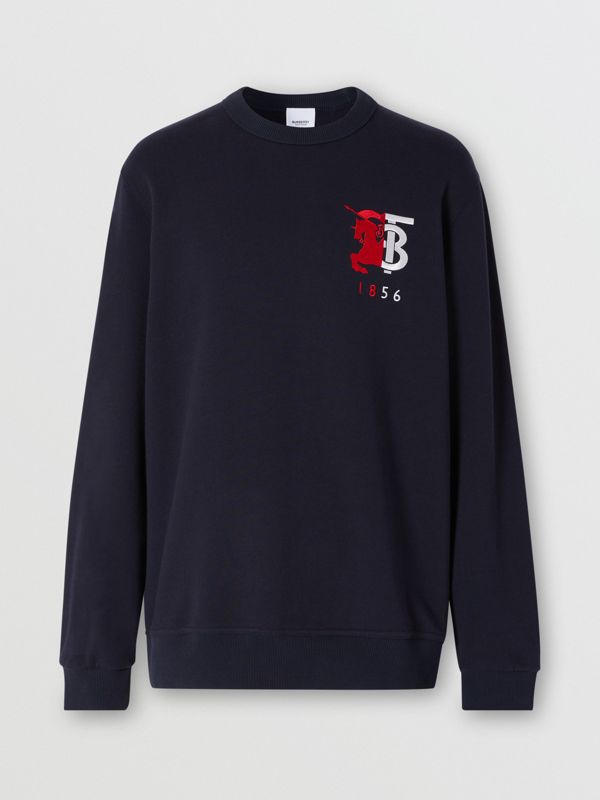 Contrast Logo Graphic Cotton Sweatshirt in Navy - Men | Burberry United Kingdom - cell image 3