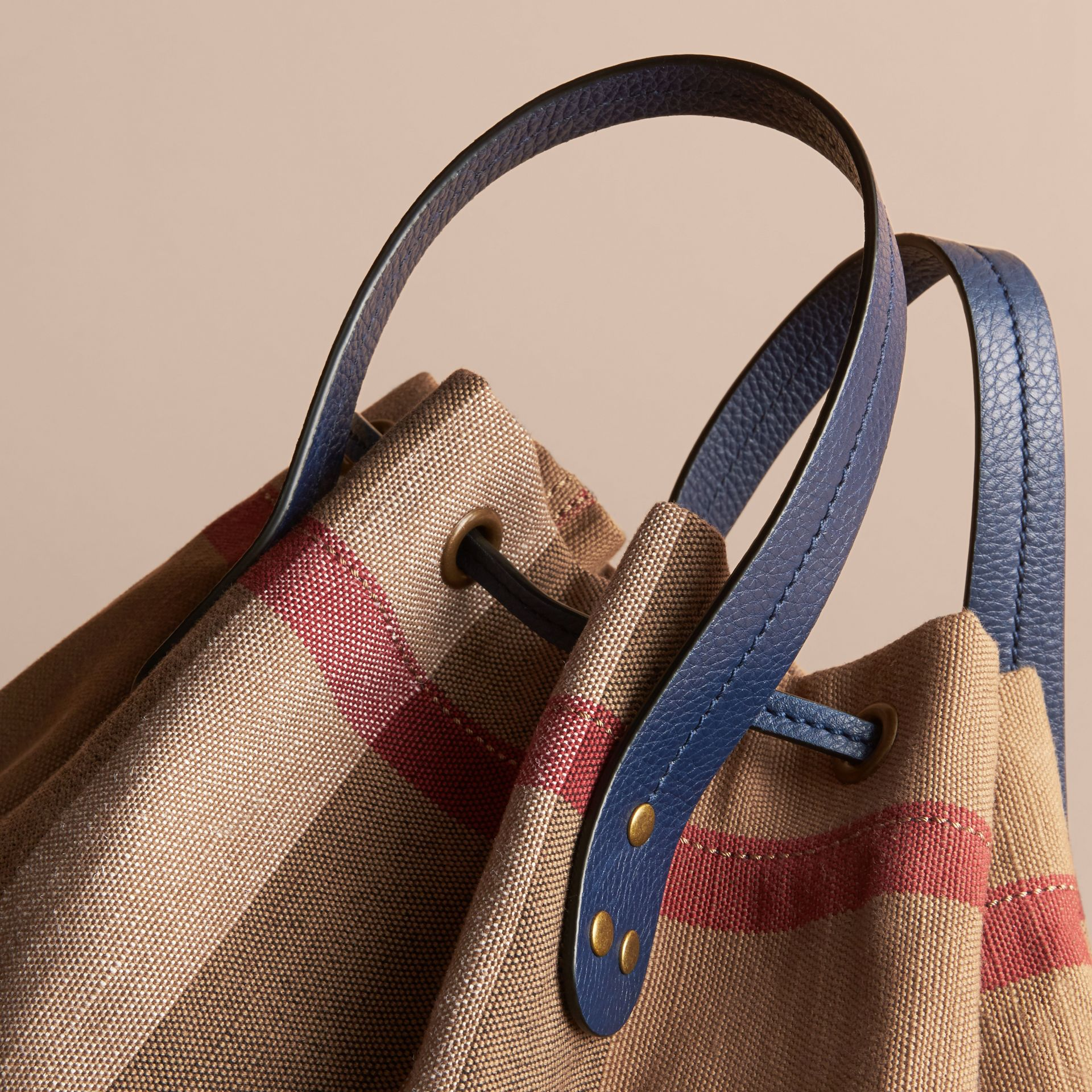 Medium Canvas Check and Leather Bucket Bag in Brilliant Navy - Women | Burberry - gallery image 7