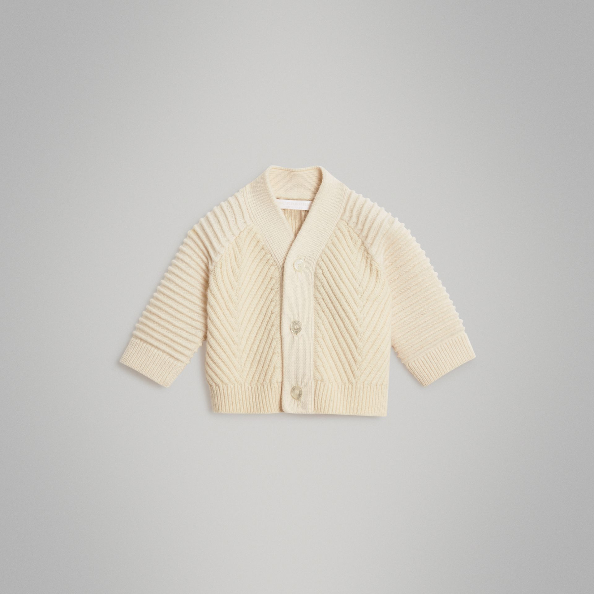 Rib Knit Wool Cashmere Cardigan in Ivory - Children | Burberry Australia - gallery image 0