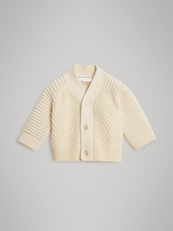 羅紋針織羊毛喀什米爾開襟針織衫 (象牙色)