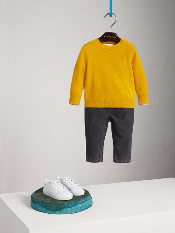 Check Detail Cashmere Sweater in Amber Yellow | Burberry United Kingdom - cell image 2