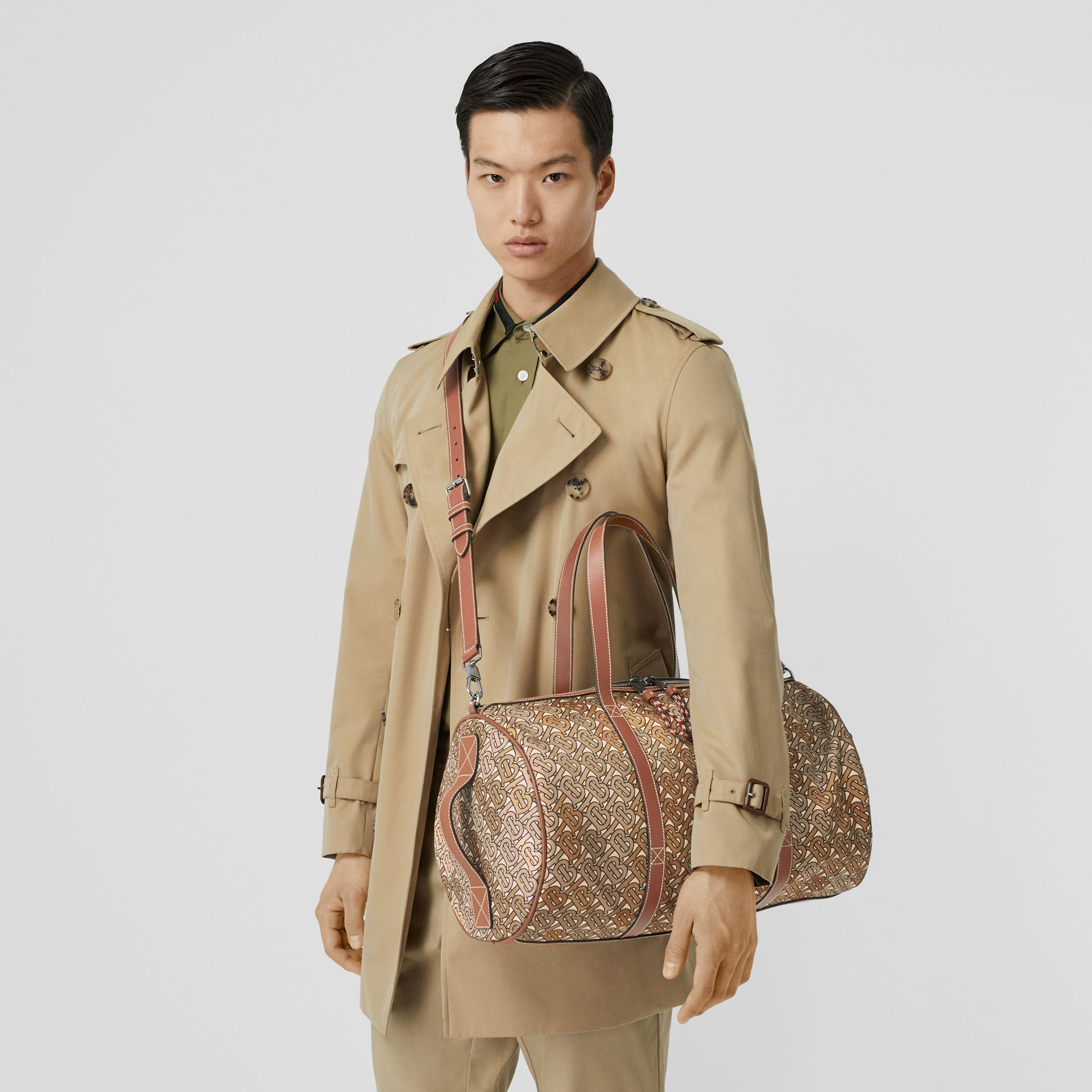 Monogram Print Nylon and Leather Barrel Bag in Camo Brown - Men | Burberry United Kingdom - gallery image 2