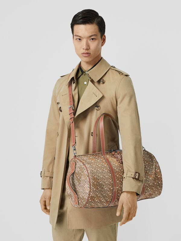 Monogram Print Nylon and Leather Barrel Bag in Camo Brown - Men | Burberry United Kingdom - cell image 2