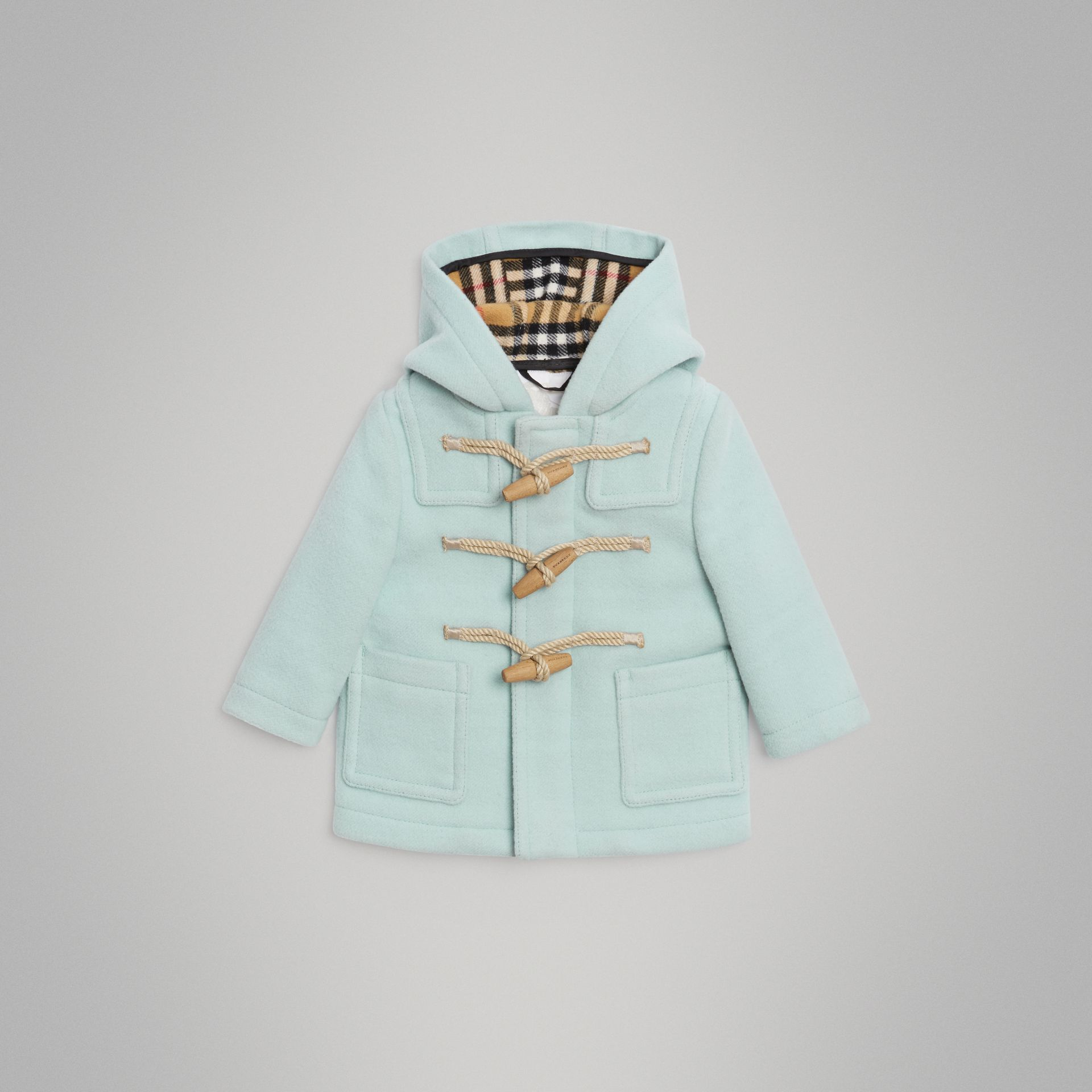 Boiled Wool Duffle Coat in Pale Mint - Children | Burberry - gallery image 0