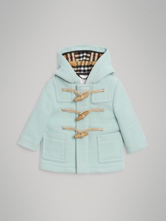 Boiled Wool Duffle Coat in Pale Mint