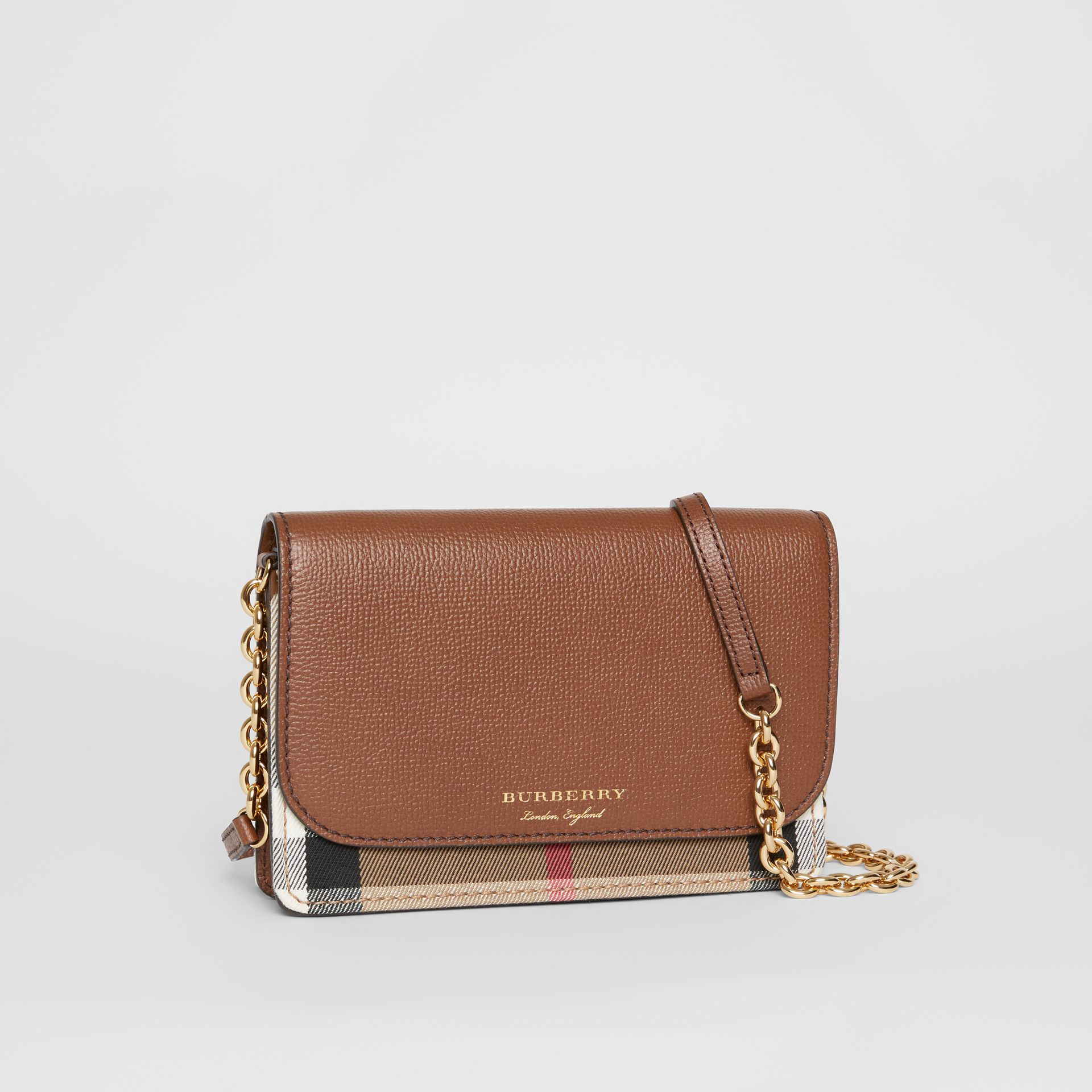 Leather and House Check Wallet with Detachable Strap in Tan - Women | Burberry - gallery image 6